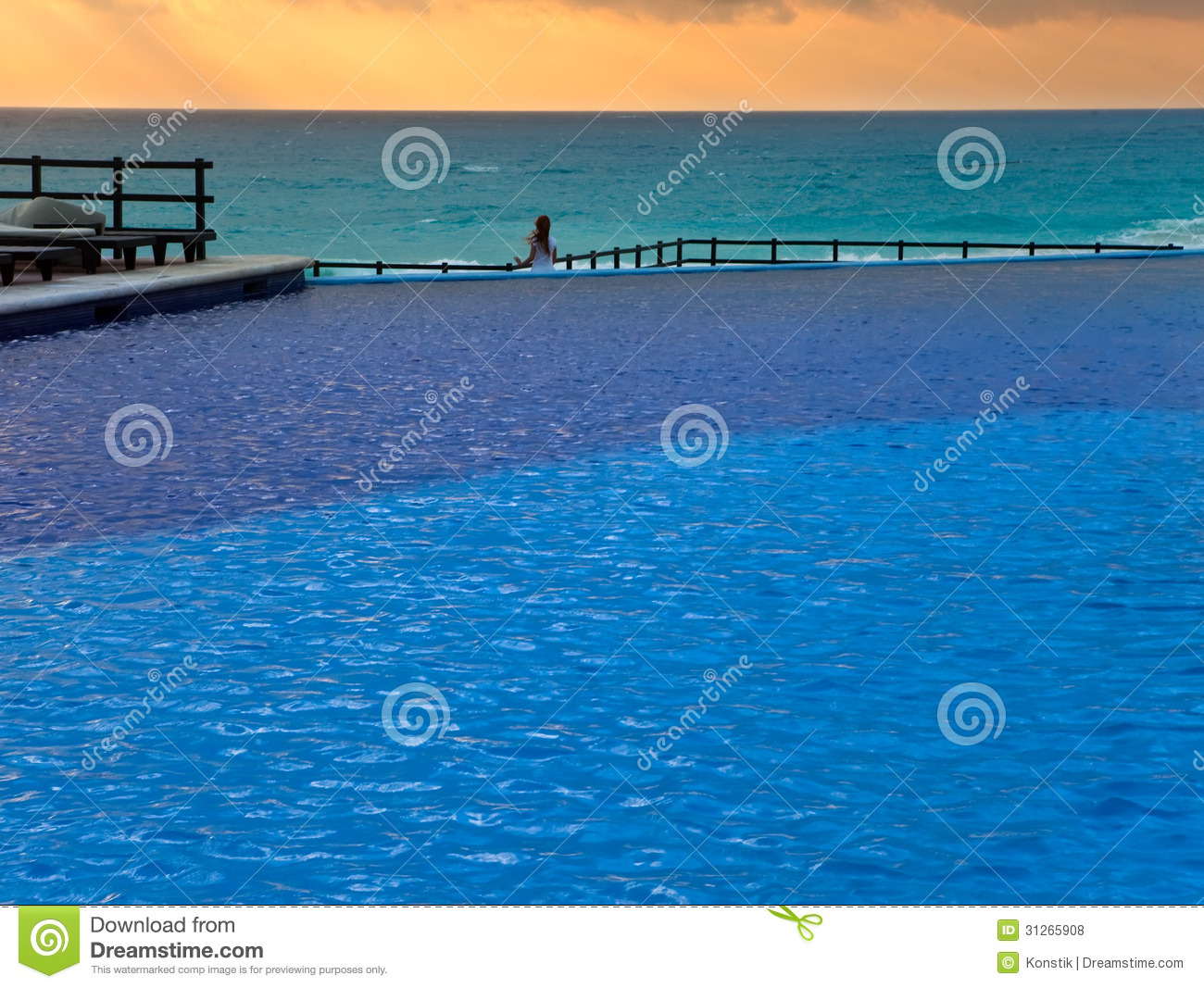 Empty swimming pool and sea royalty free stock photos for Empty swimming pool