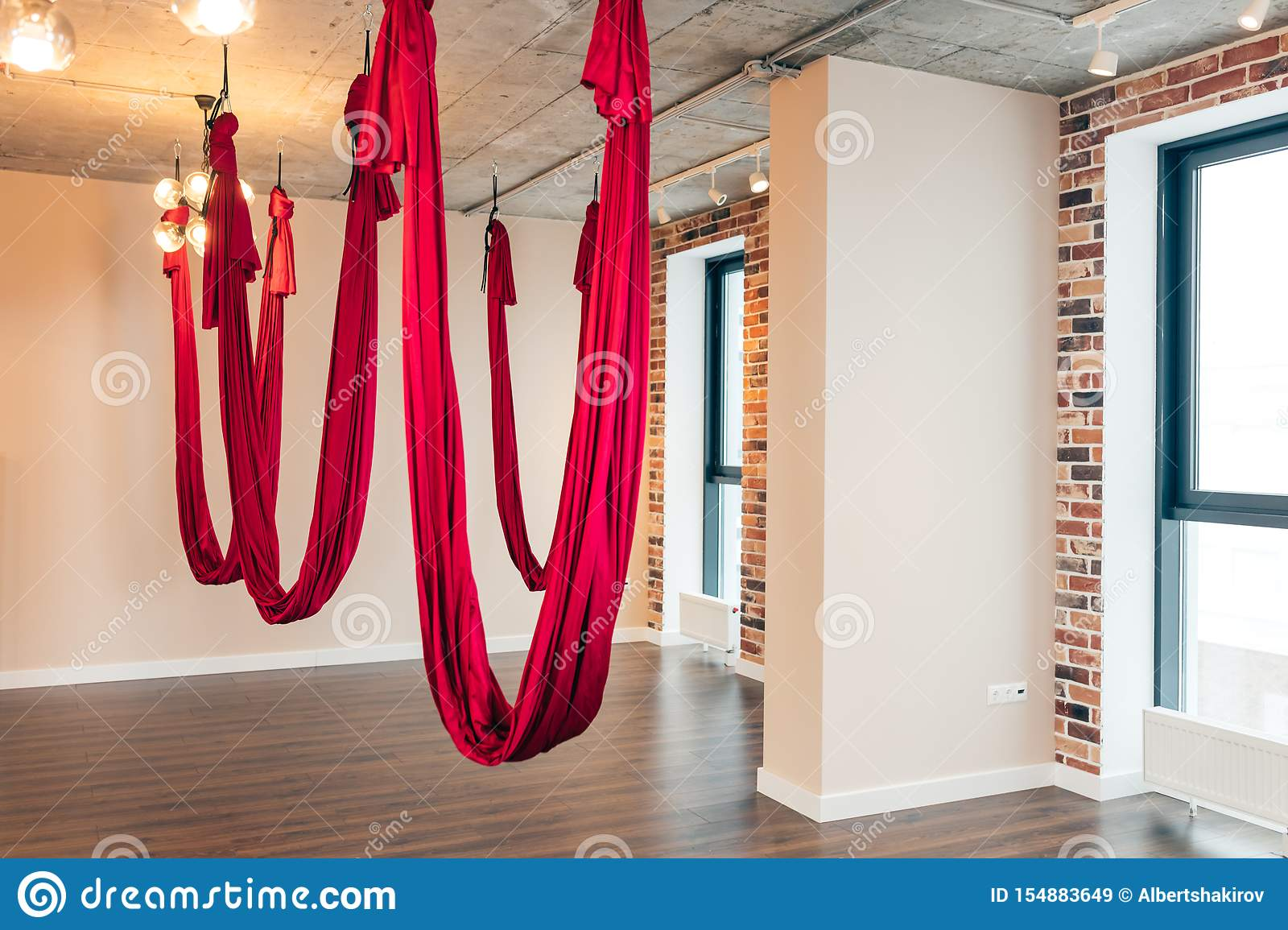Empty Flying Yoga Loft Design Studio With Red Hammocks And Wooden Texture Floor Stock Image Image Of Design Class 154883649