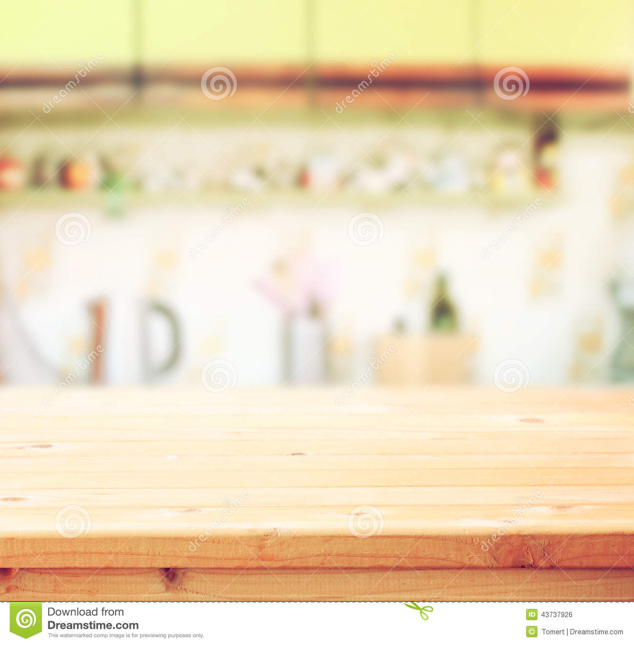 Kitchen Table Background empty table board and defocused retro kitchen background stock