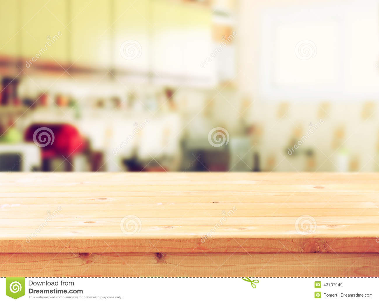 Kitchen Table Top Background empty table board and defocused retro kitchen background. stock