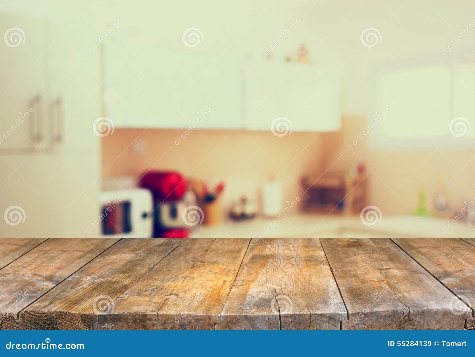 Kitchen Background Empty Table Board And Defocused White Retro Kitchen Background