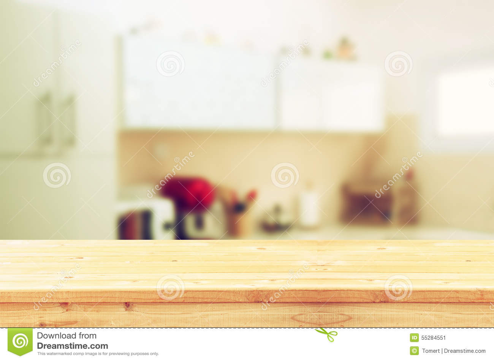 Vintage Kitchen Background ~ Empty table board and defocused white retro kitchen