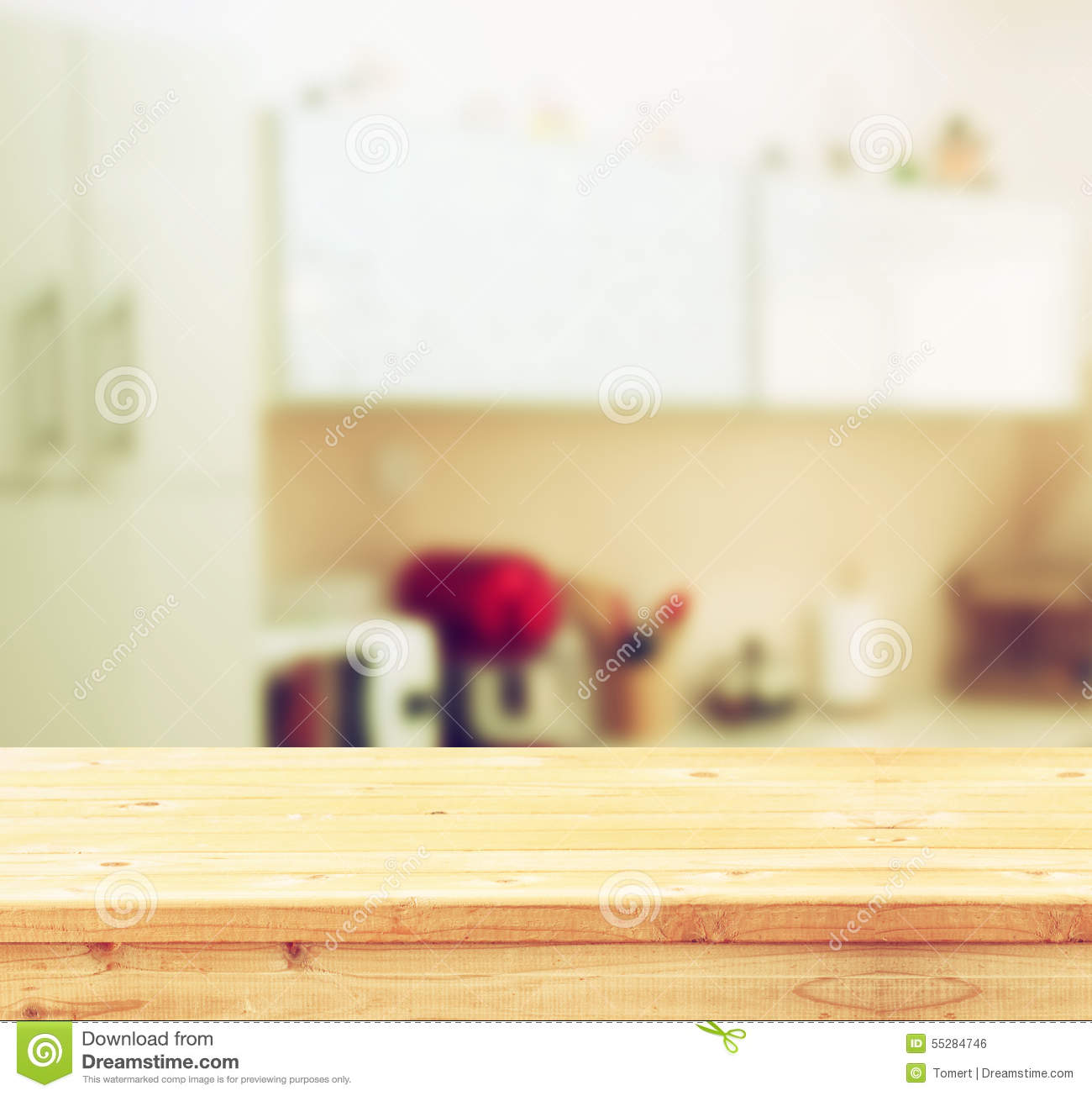Kitchen Background Image: Empty Table Board And Defocused White Retro Kitchen
