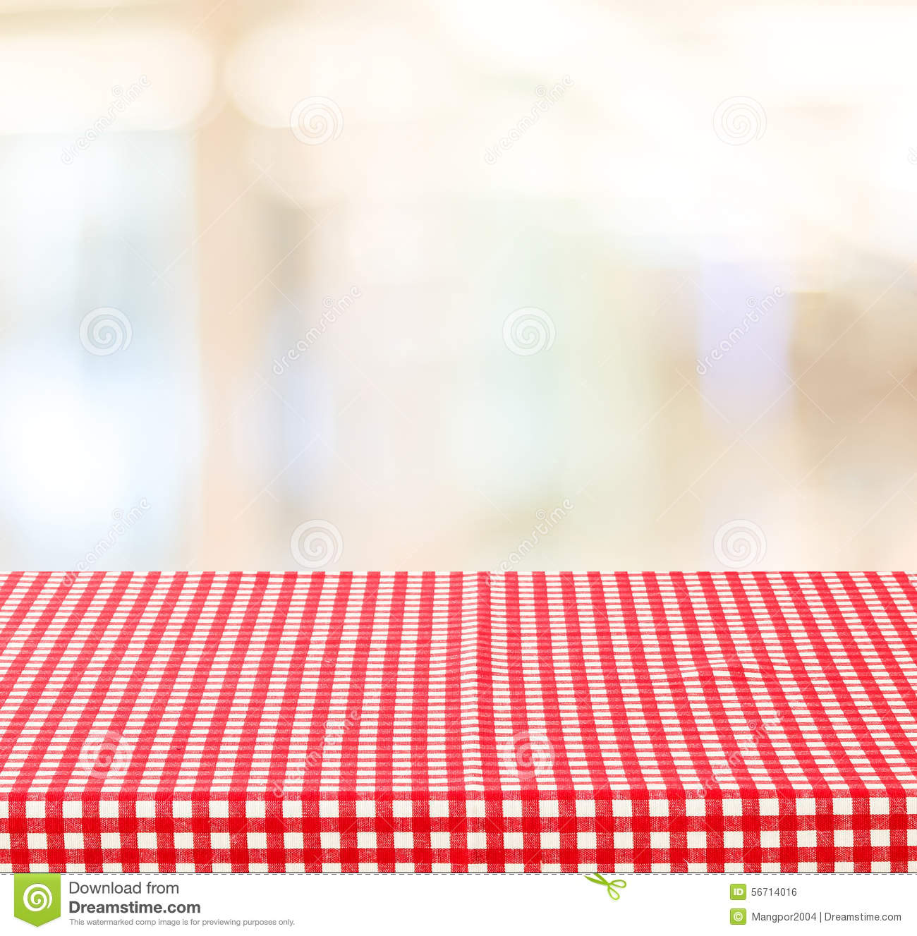 Check Out The Lights Over The: Empty Table With Red Check Tablecloth Over Blur Festive