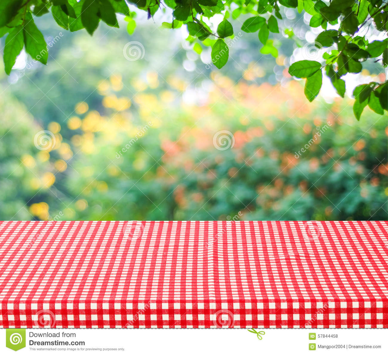 Empty Table And Red Tablecloth With Blur Green Leaves ...