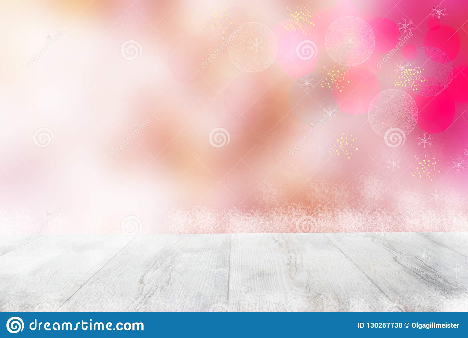 Empty table top or wood floor and blur abstract christmas of background. Empty rustic wooden bright table top in front