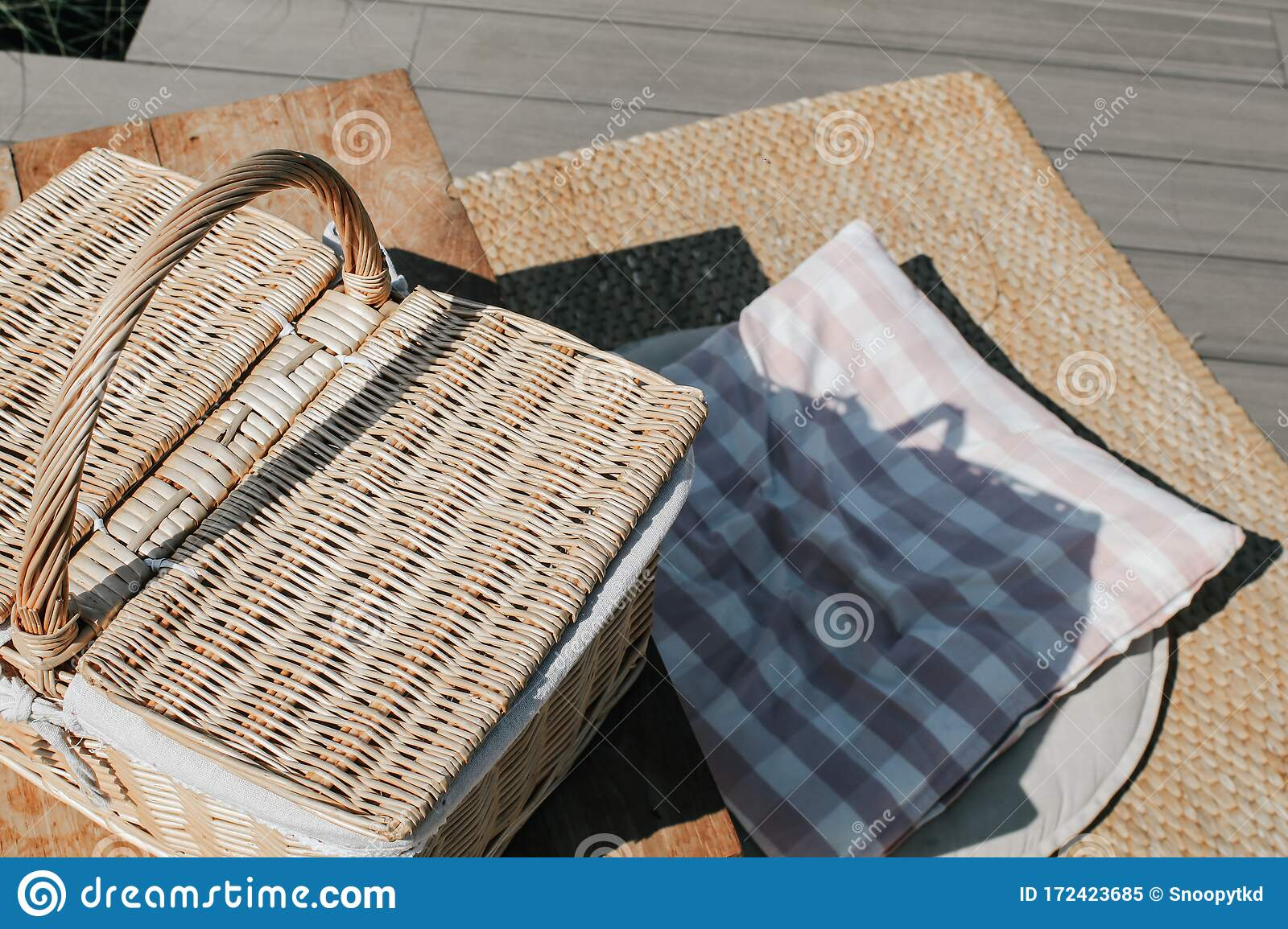 Empty Table With Wicker Basket Picnic Table Blanket And Basket In The Grass Background Stock Image Image Of Furniture Clothes 172423685