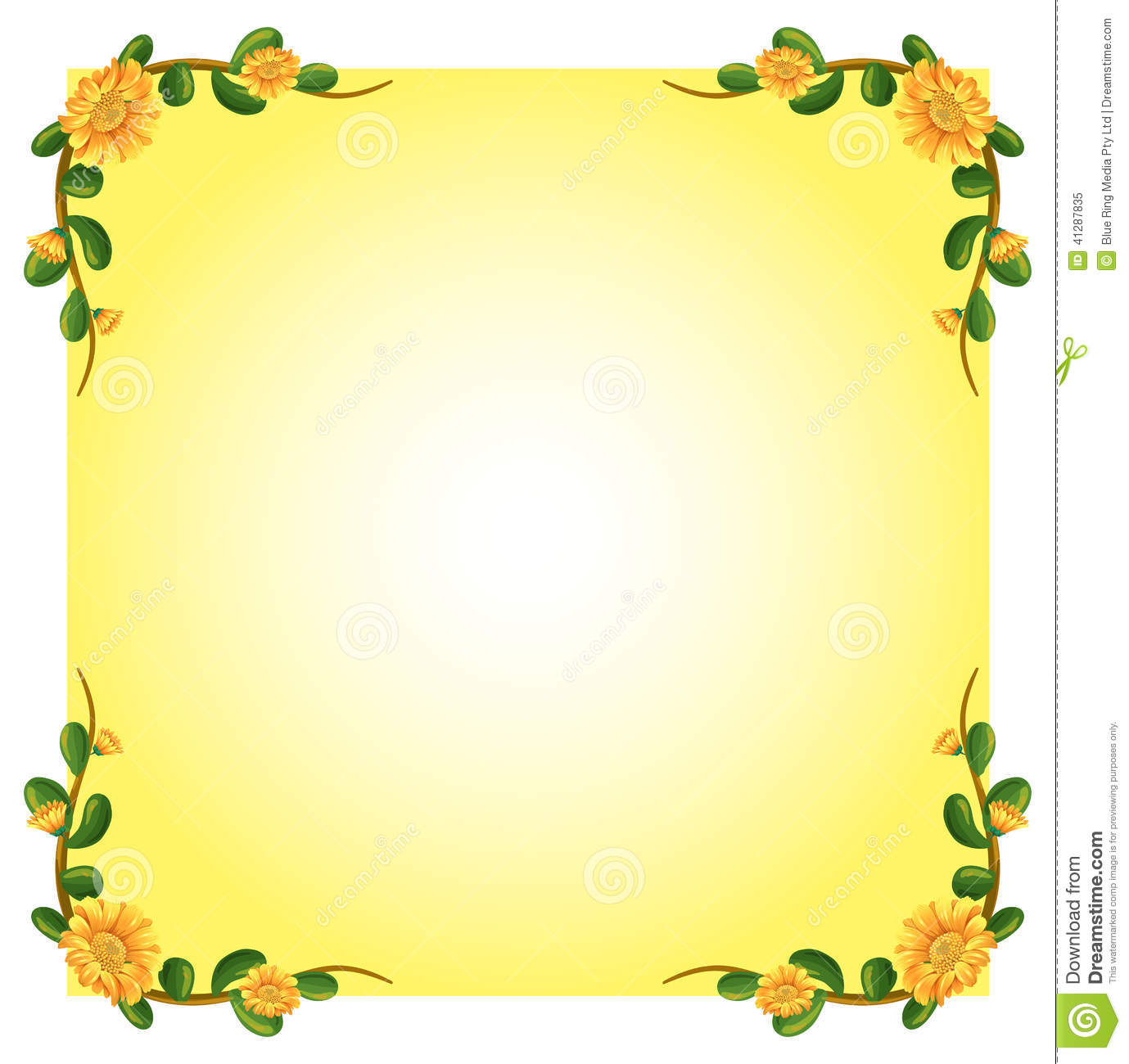 An Empty Template With A Flowering Plant Border Design Stock ...