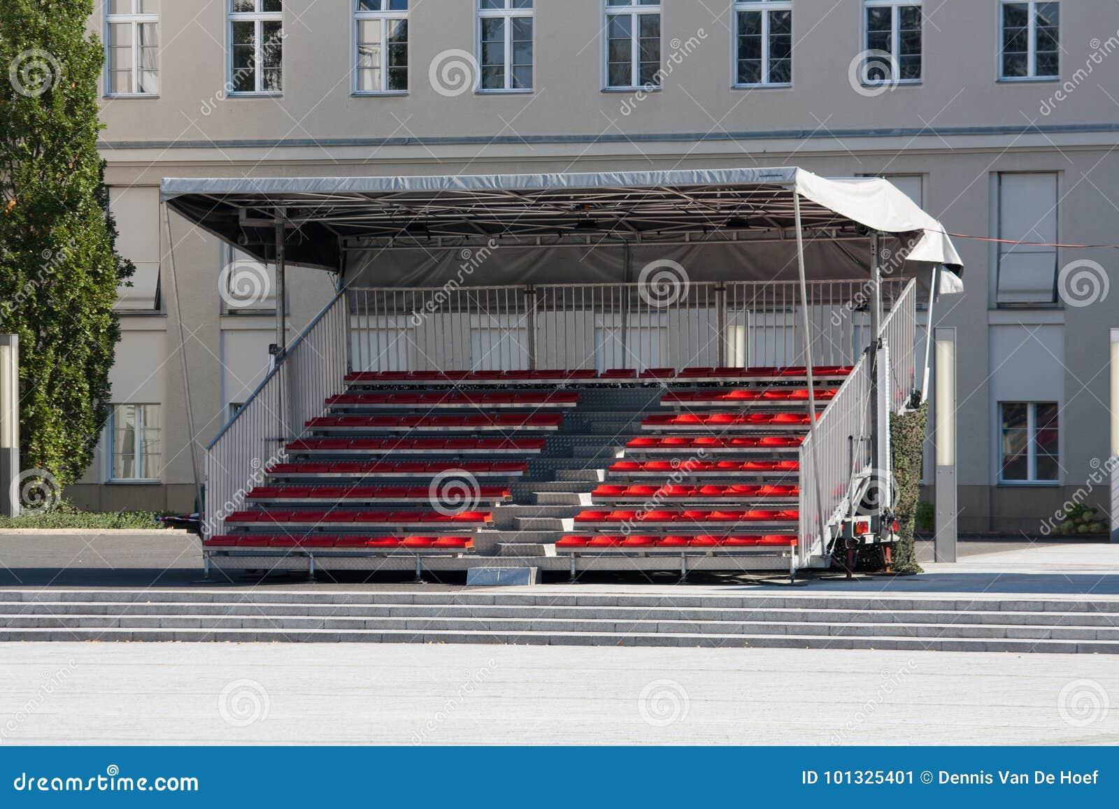 Empty temporary tribune.