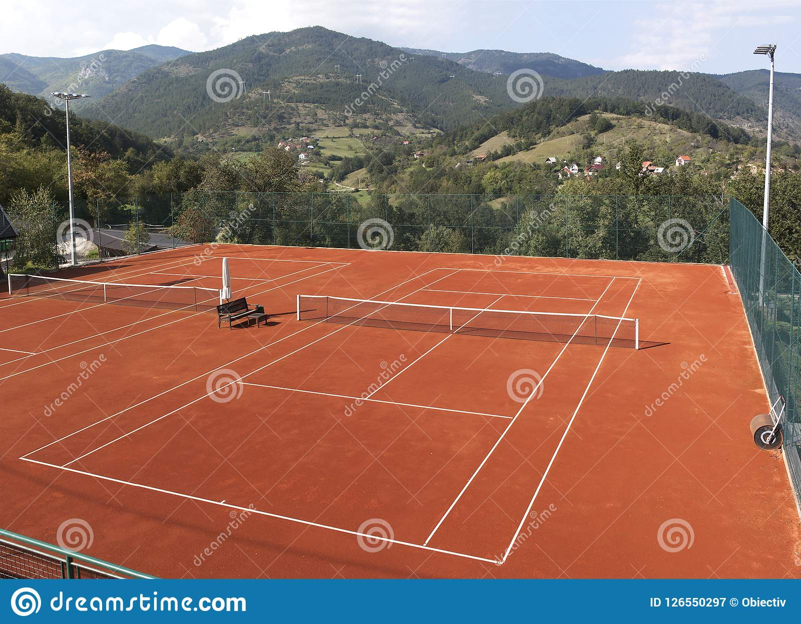 Empty Tennis Court Stock Image Image Of Tournament 126550297