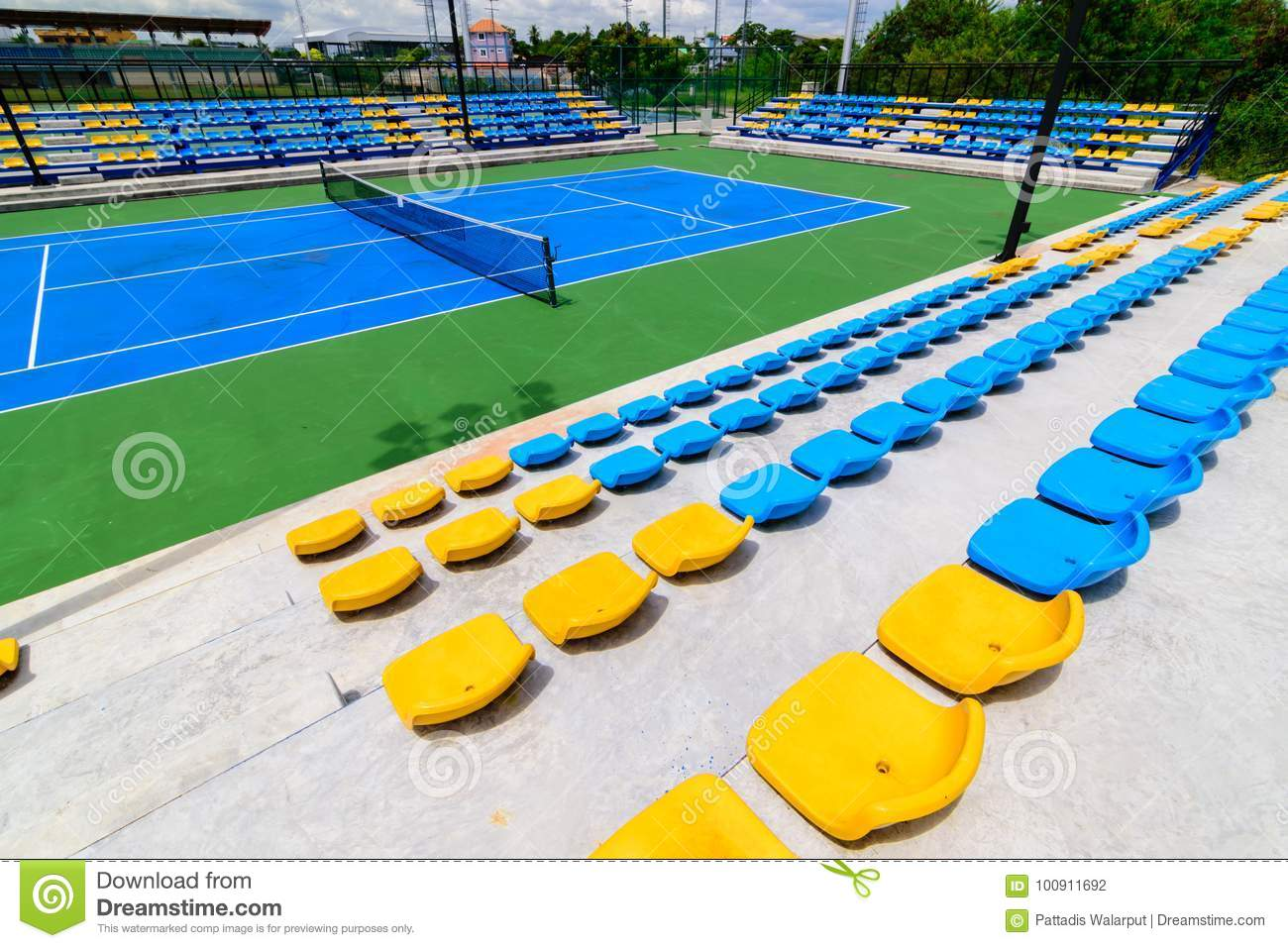 Attrayant Download Empty Tennis Court Chairs Stock Photo. Image Of Ball   100911692