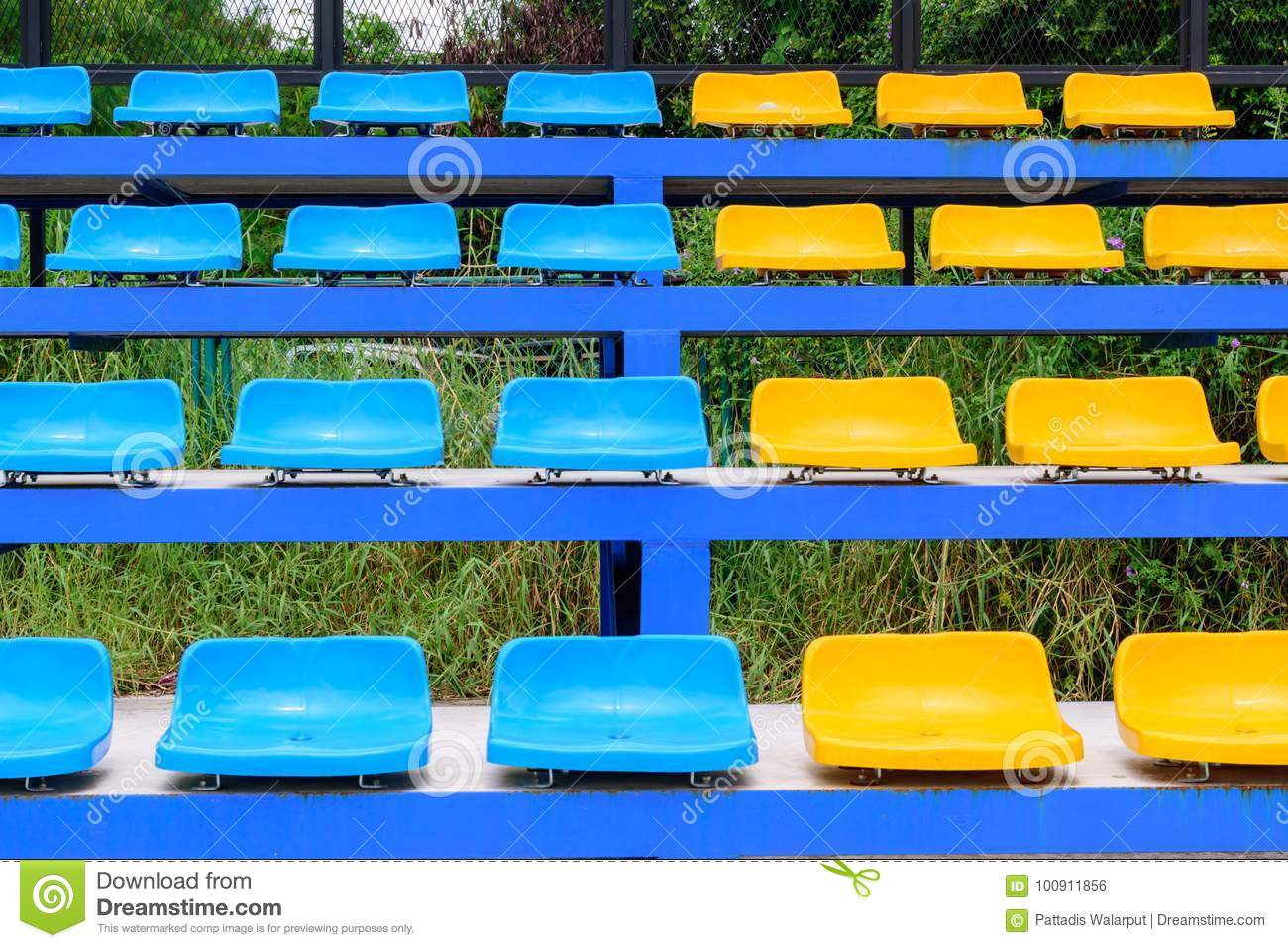 Download Empty Tennis Court Chairs Stock Photo. Image Of Competition    100911856