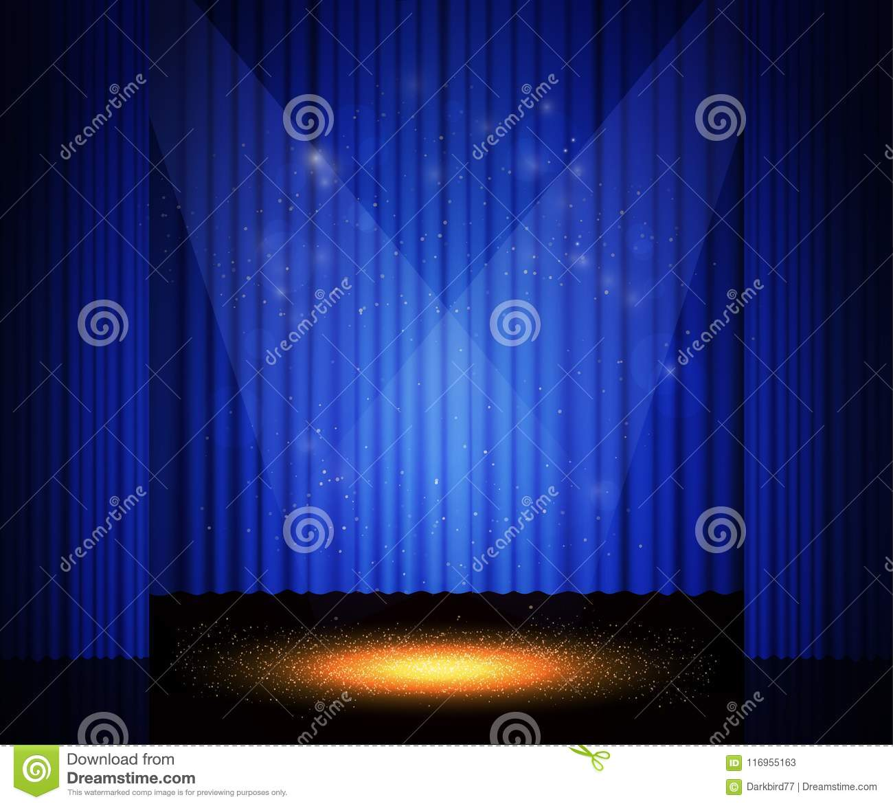 Download Empty Theatre Stage With Curtain Background For Show Presentat Stock Illustration