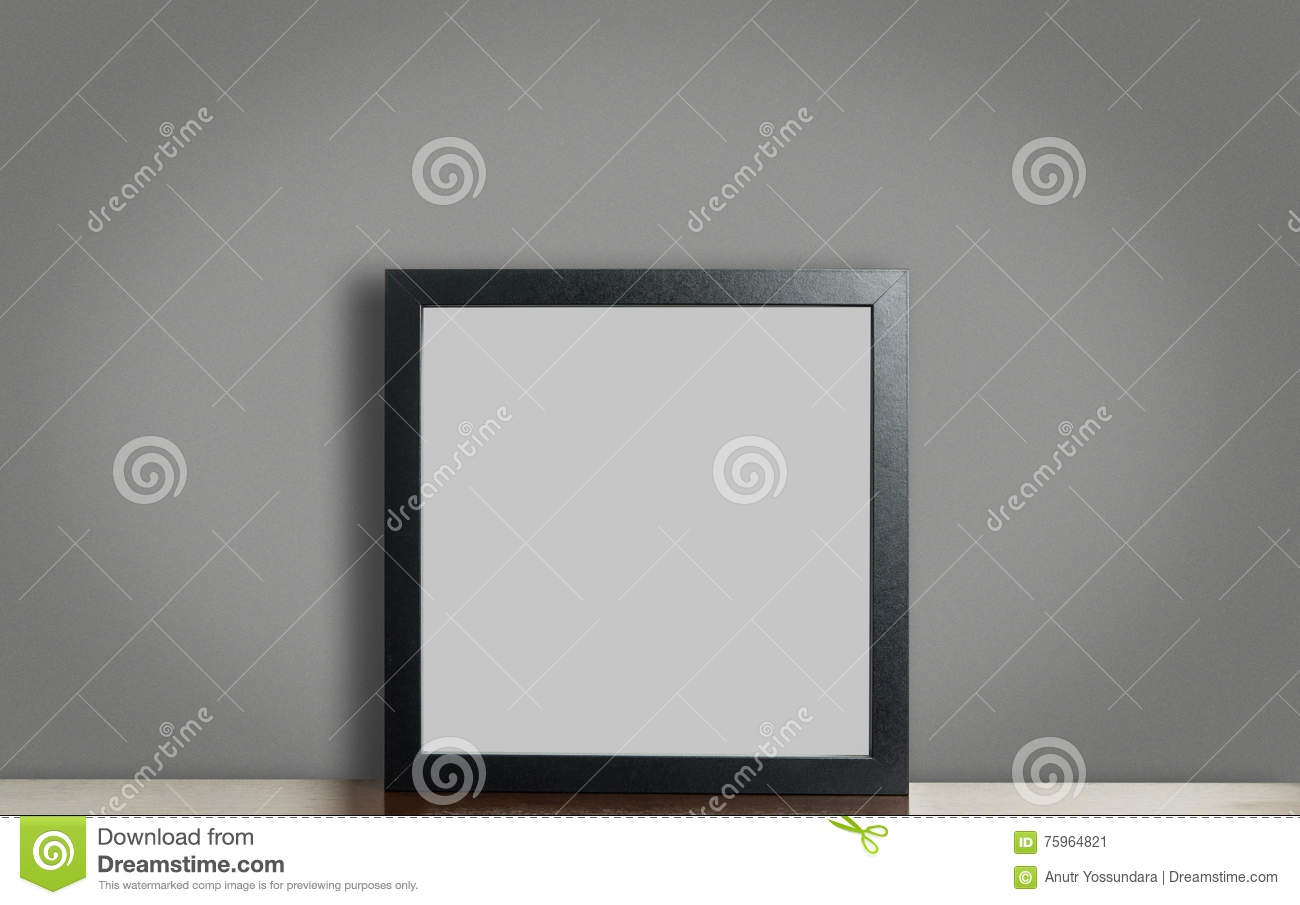 Empty Thick black photo frame on gray background with clipping path.
