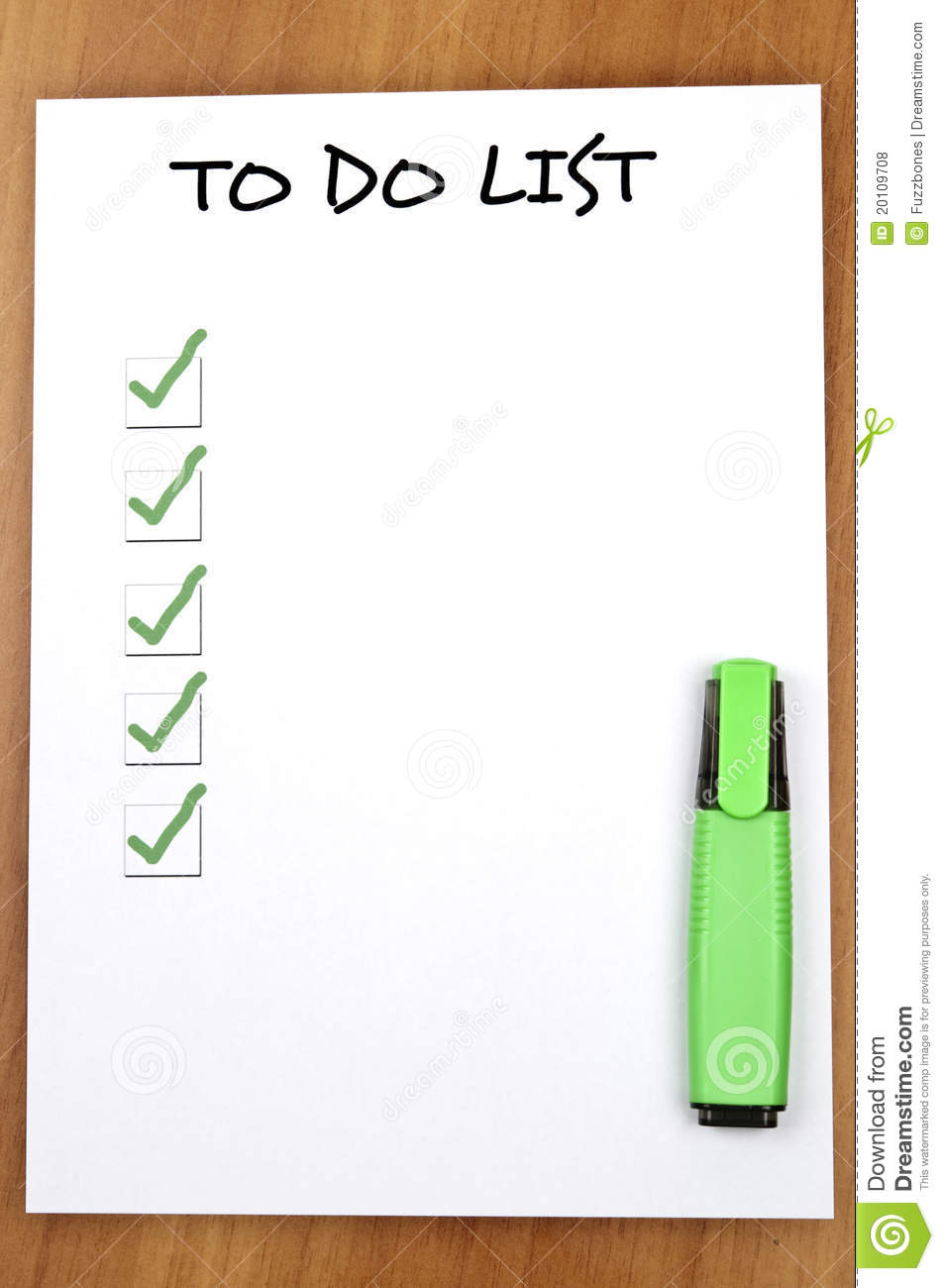 Empty To Do List Royalty Free Stock Photos - Image: 20109708