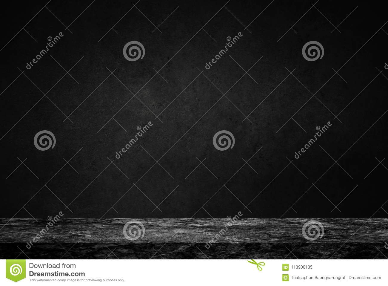 Empty top of black marble stone table on concrete wall background texture grunge and grey surface with space or display for add t