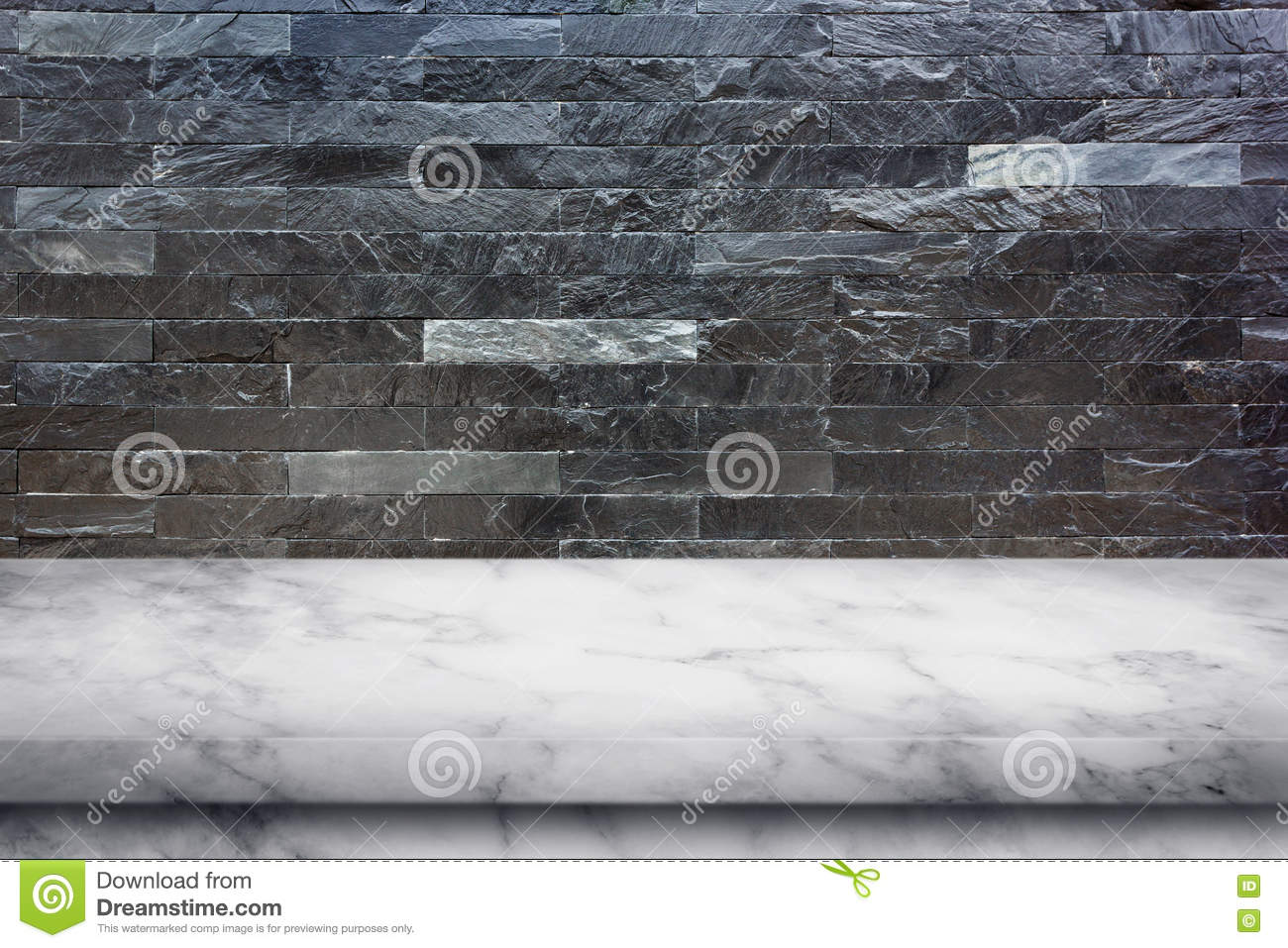 Empty Top Of Marble Table On Black Marble Stone Wall Background