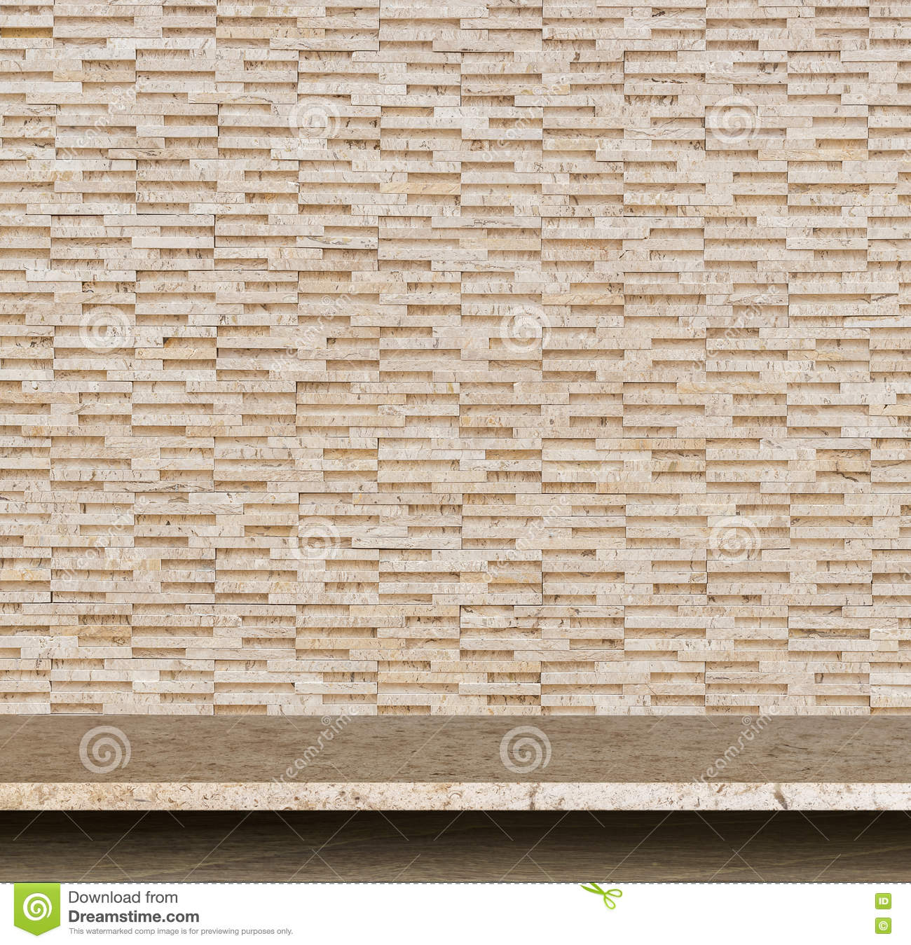 Empty top of natural stone table and stone wall background