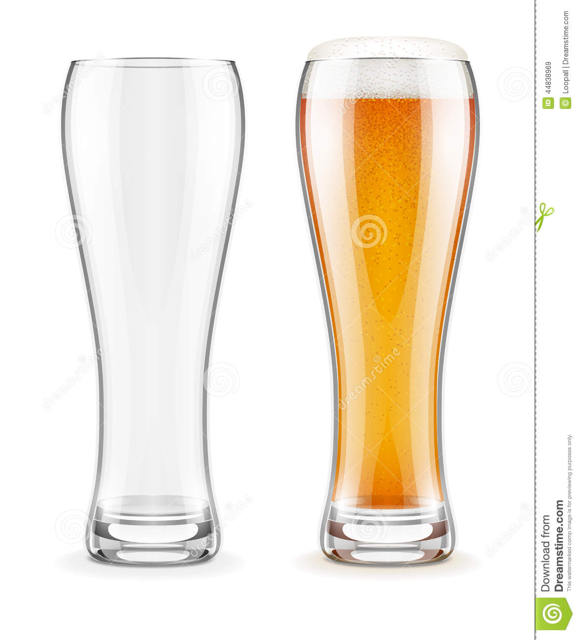 Worksheet Full Empty empty transparent glasses and full of beer with white froth stock froth