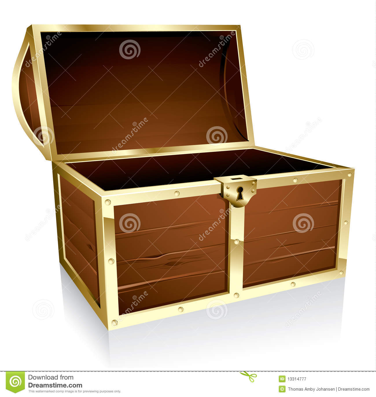 Empty treasure chest stock vector. Image of closed ...