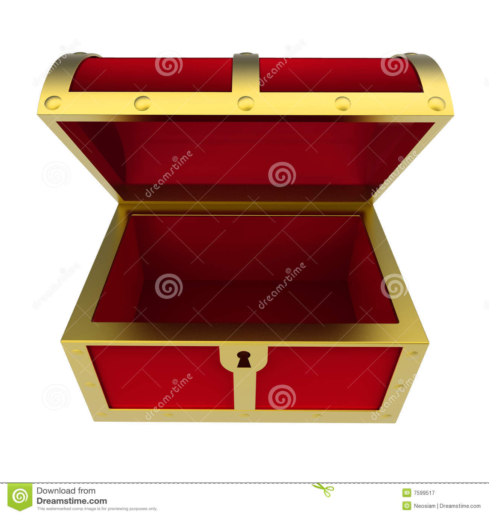 Empty Treasure Chest Isolated Royalty Free Stock