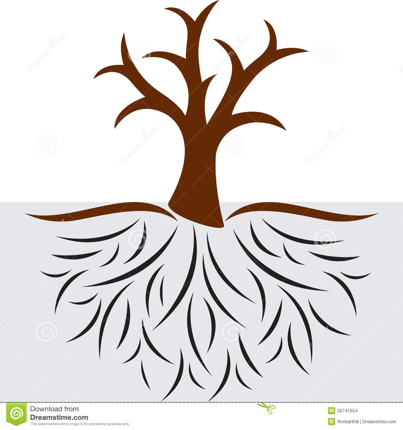 Empty tree with roots  Tree With Roots Clipart Outline