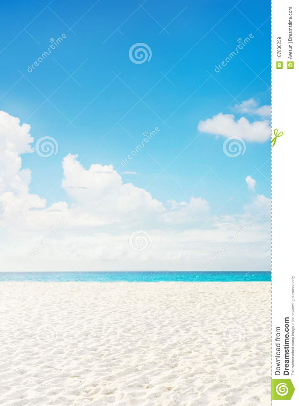 Empty tropical island sea beach with white sand