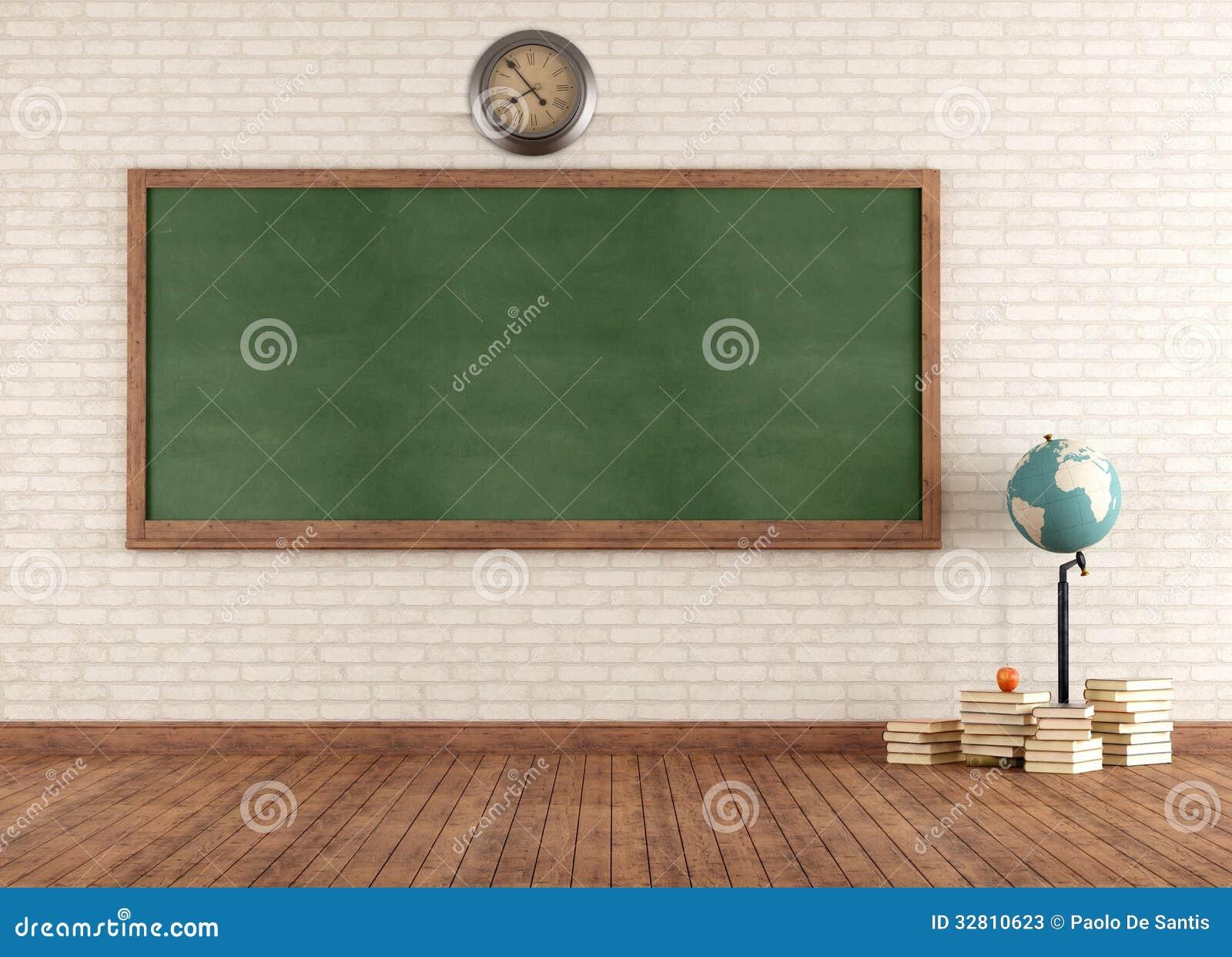 Blackboard Innovative Classroom ~ Empty vintage classroom stock illustration