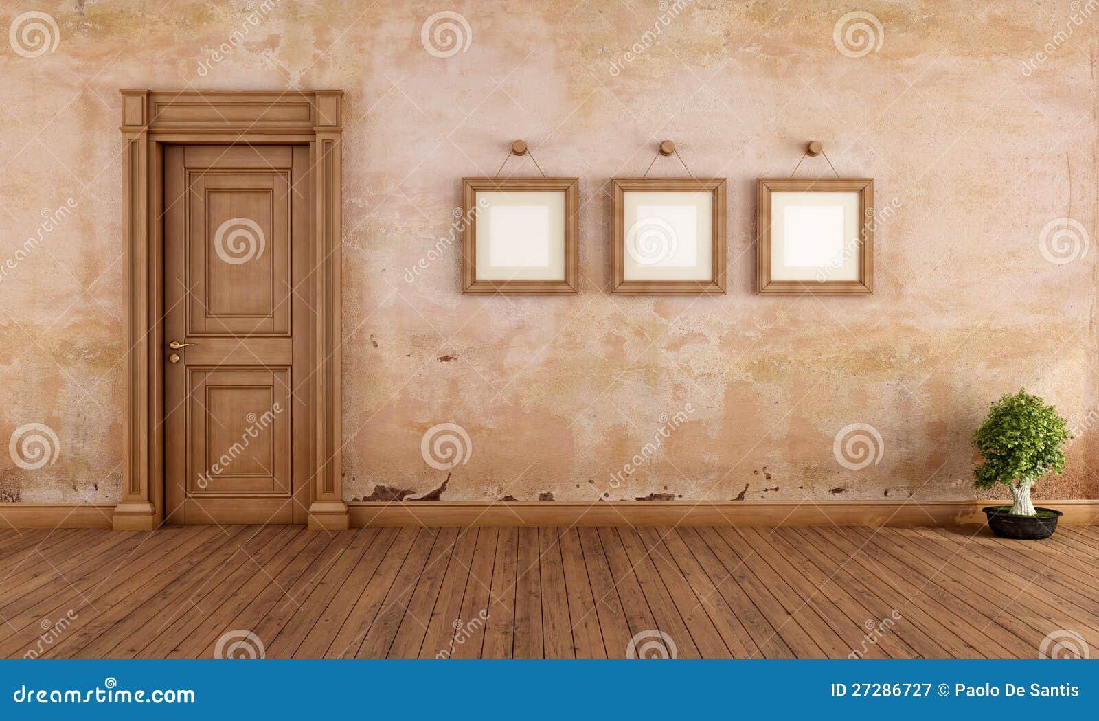 Empty vintage interior with wooden door stock illustration empty vintage interior with wooden door planetlyrics Gallery