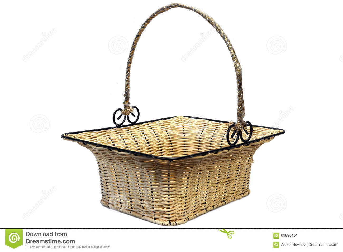 Empty Metal Gift Baskets : Decorated empty wicker basket on a white background stock