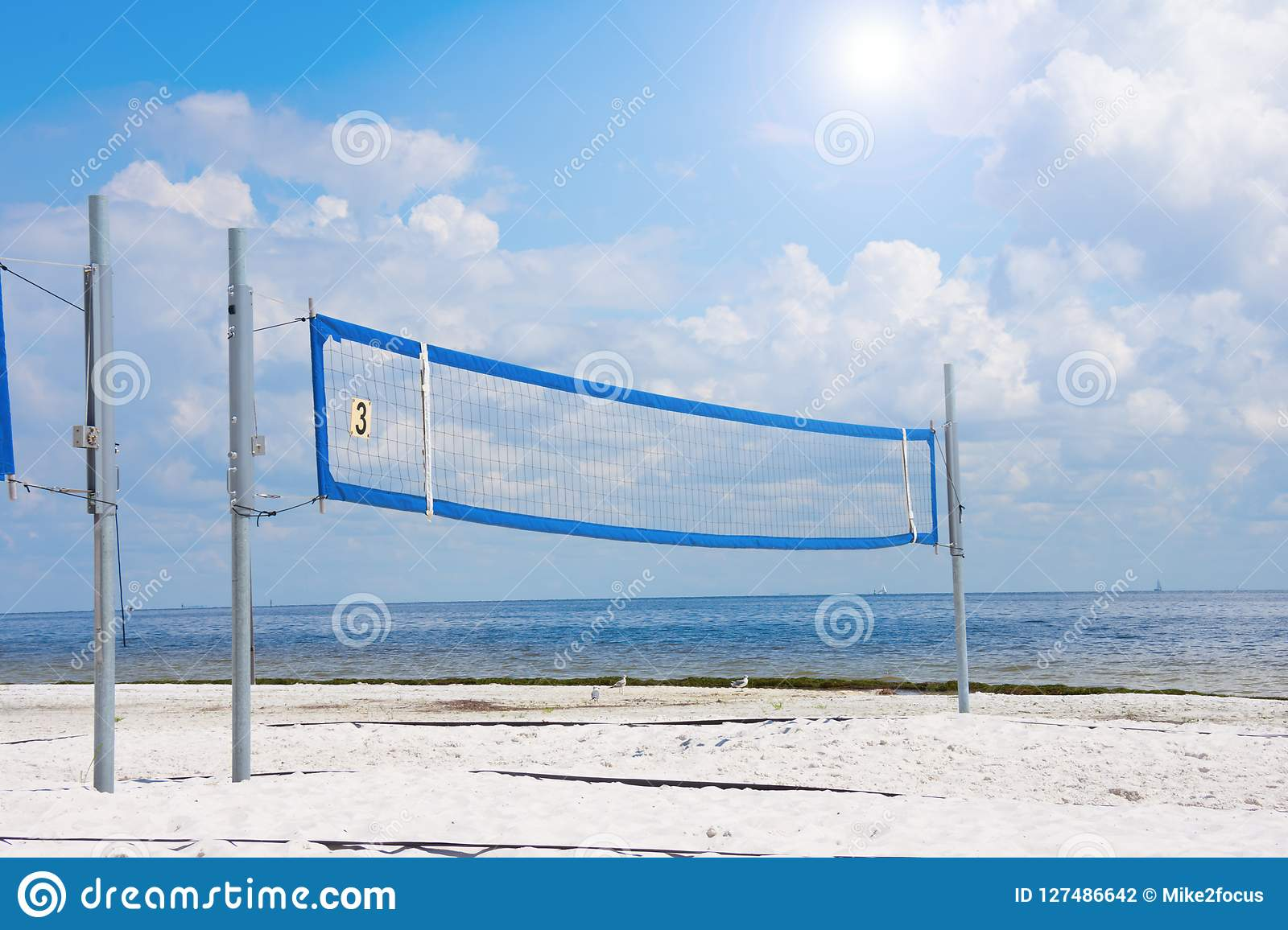 Empty Volleyball Court On The Beach On A Sunny Day Stock Photo Image Of White Sports 127486642