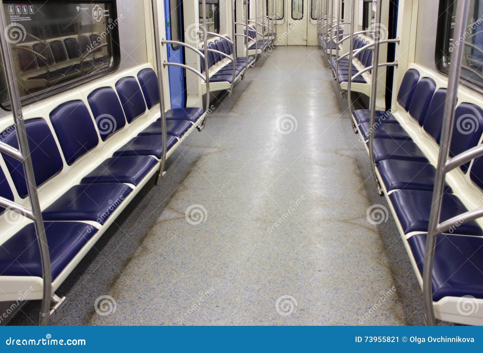 empty wagon train on the Moscow Metro
