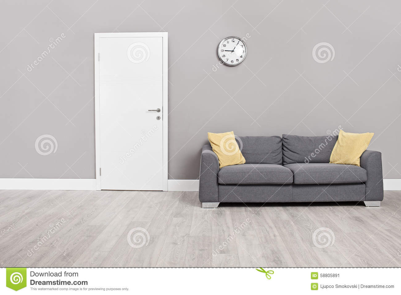 Remarkable Empty Waiting Room With A Modern Gray Sofa Stock Image Cjindustries Chair Design For Home Cjindustriesco