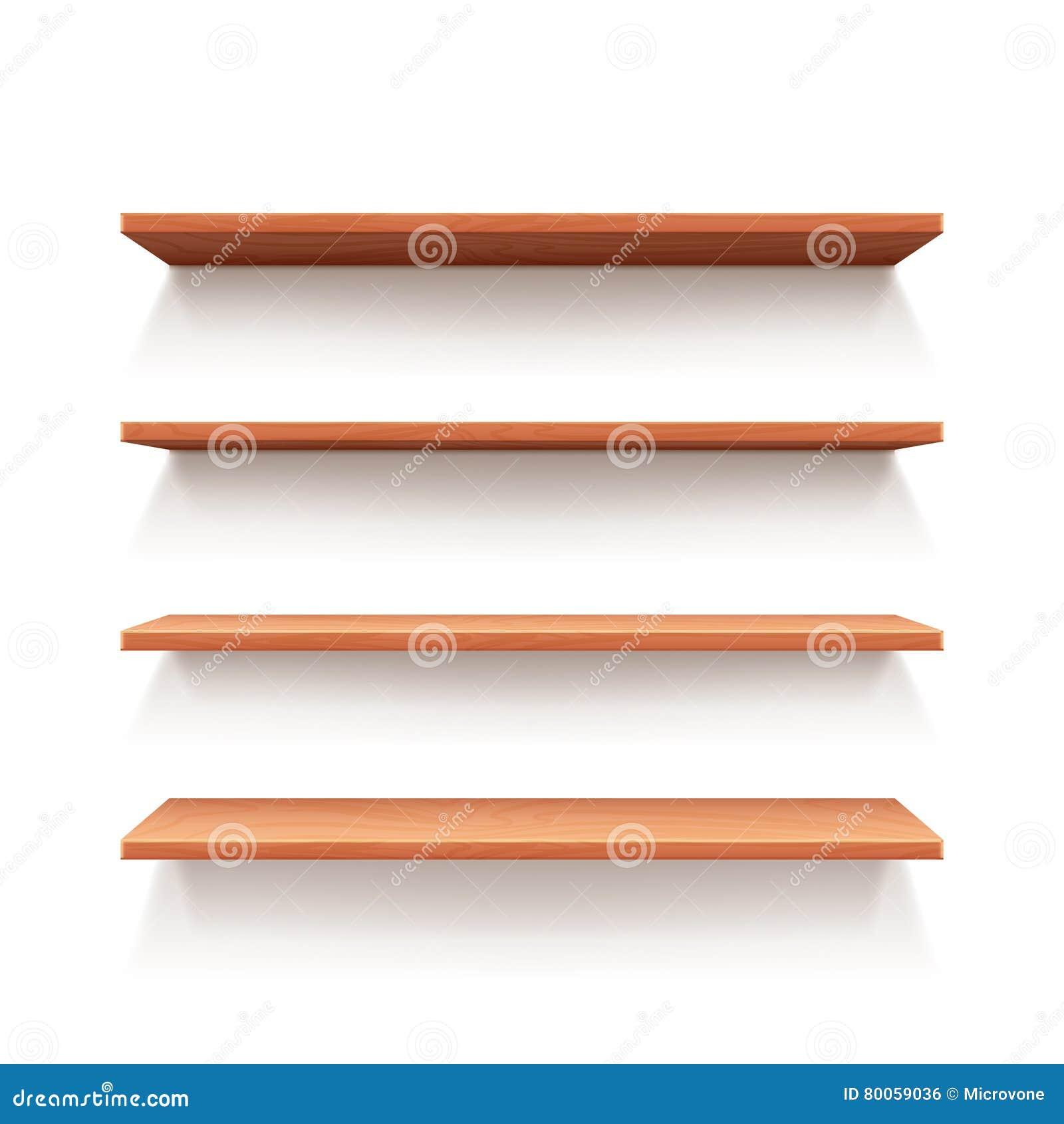 Interior wooden shelves free vector - Royalty Free Vector Book Design Empty Illustration Interior Shelf