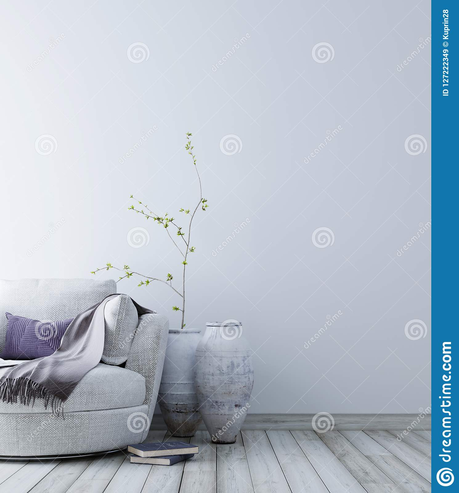 Empty wall for mockup with pastel scandinavian minimalist interior background.