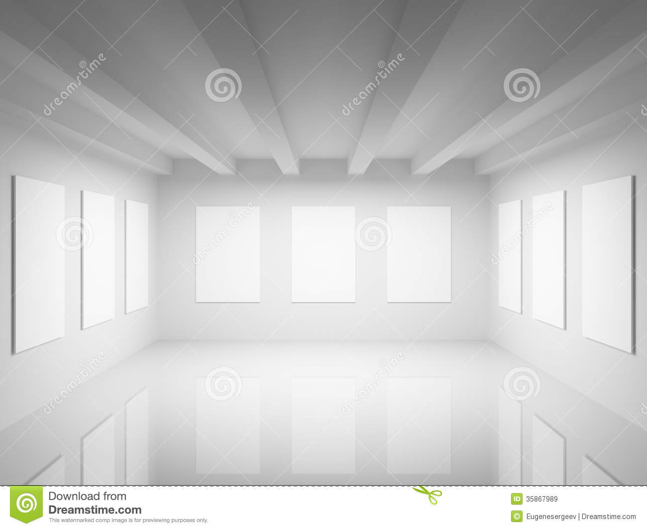 Empty White Art Gallery Hall Interior Royalty Free Stock