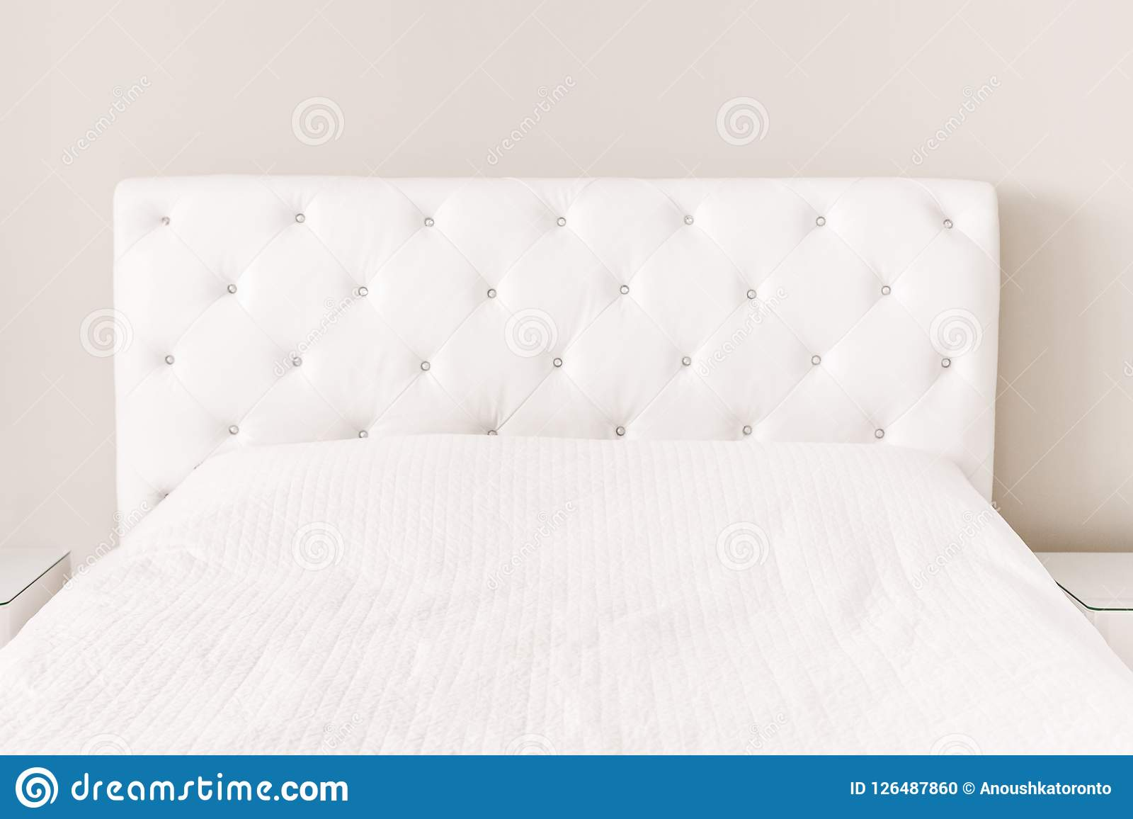 Empty White Bed With Duvet Cover Bedspread Stock Photo Image Of Bright Mattress 126487860