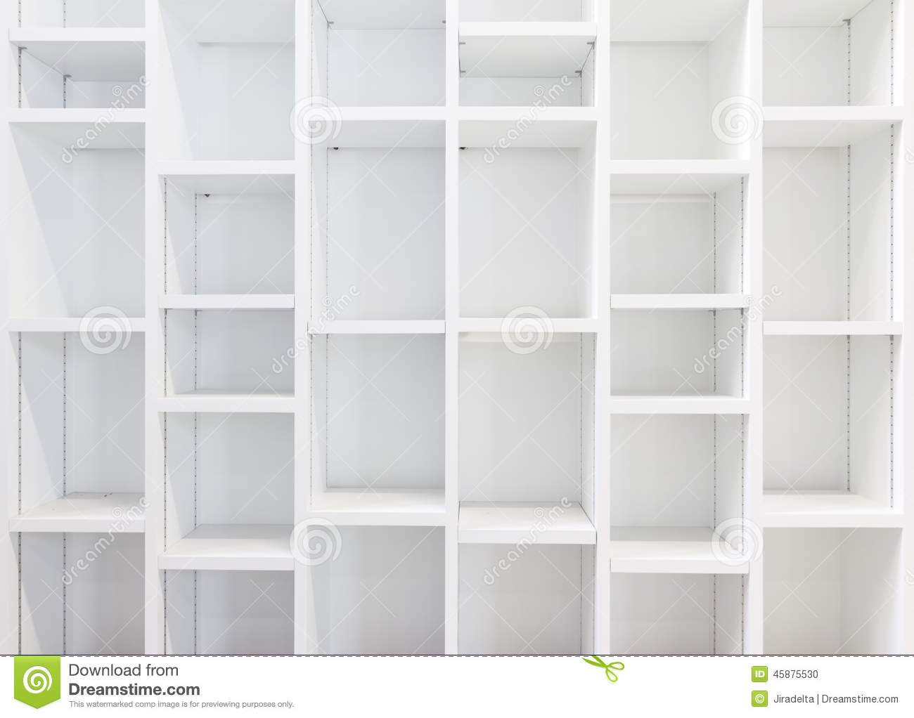 Empty White Bookcase Stock Photo Image Of Wooden Space