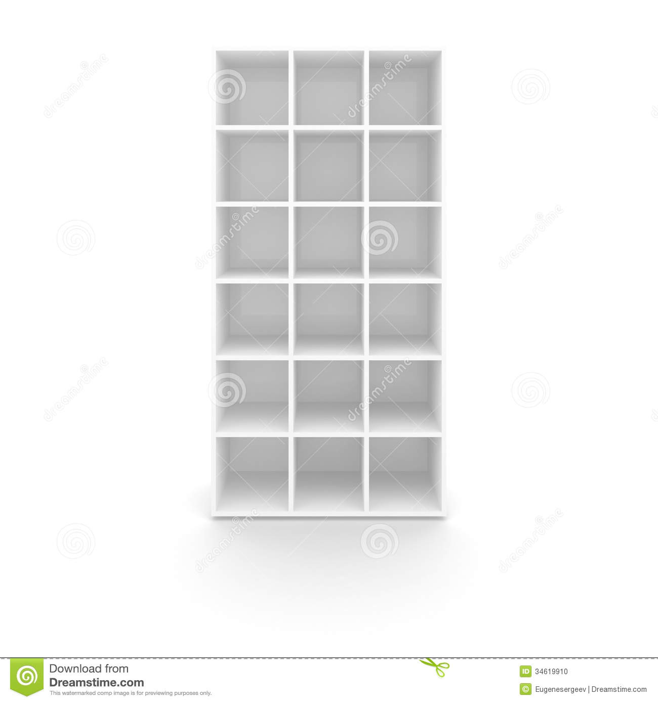 Empty White Cabinet With Cells