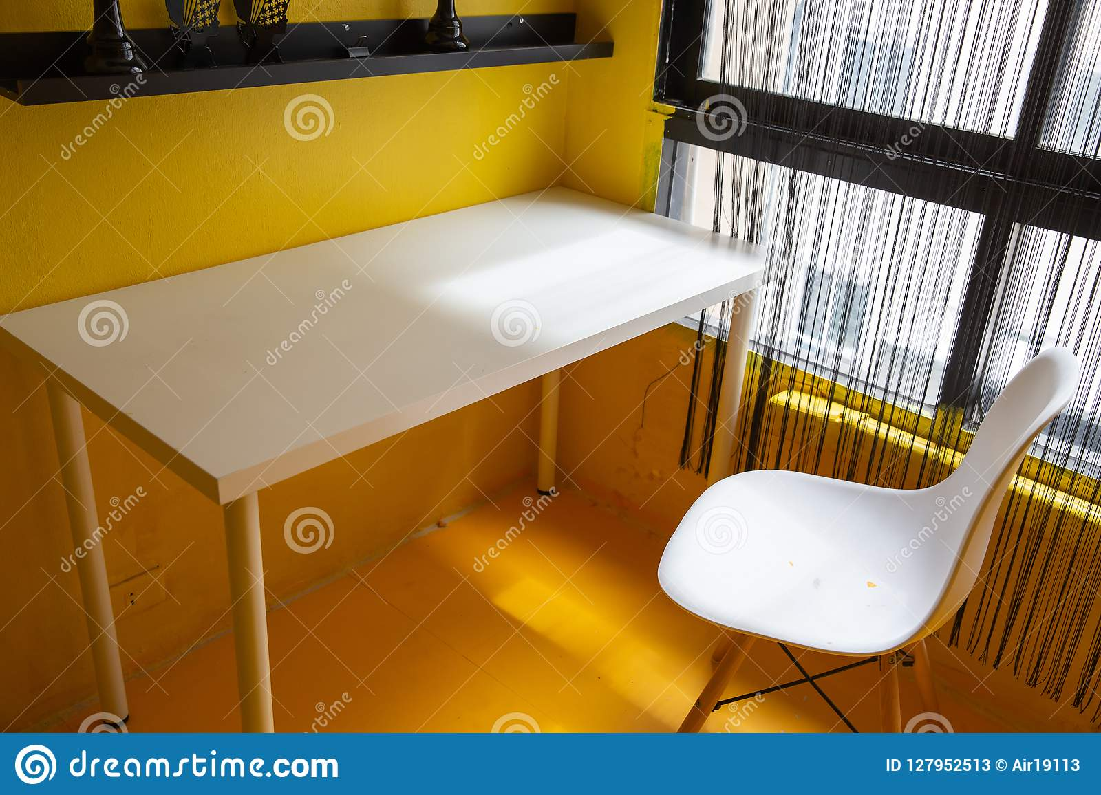 Fine Empty White Desk And Chair In Yellow Room Theme With Light Download Free Architecture Designs Griteanizatbritishbridgeorg
