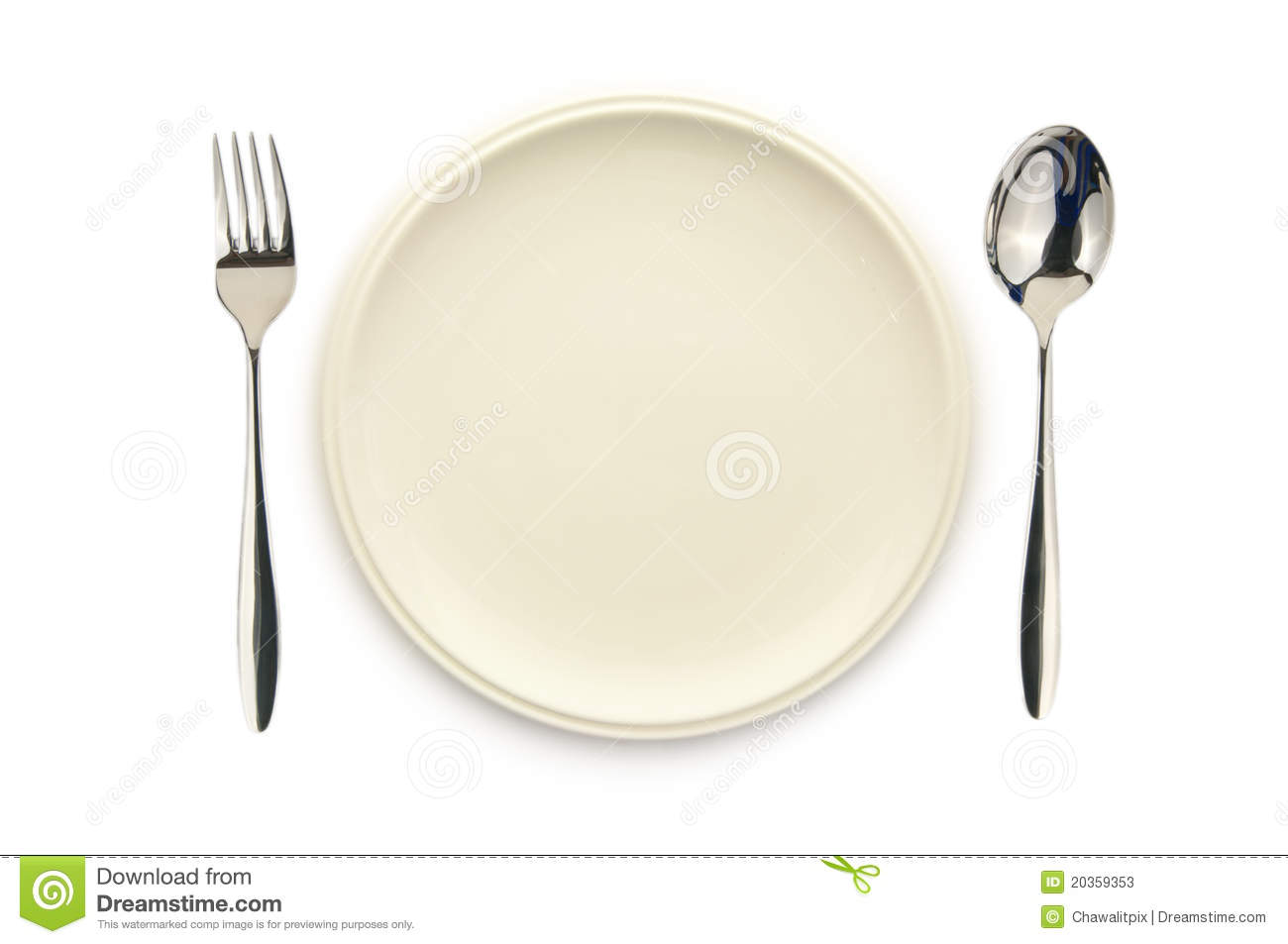 Top view of empty white dish spoon and fork on white background.