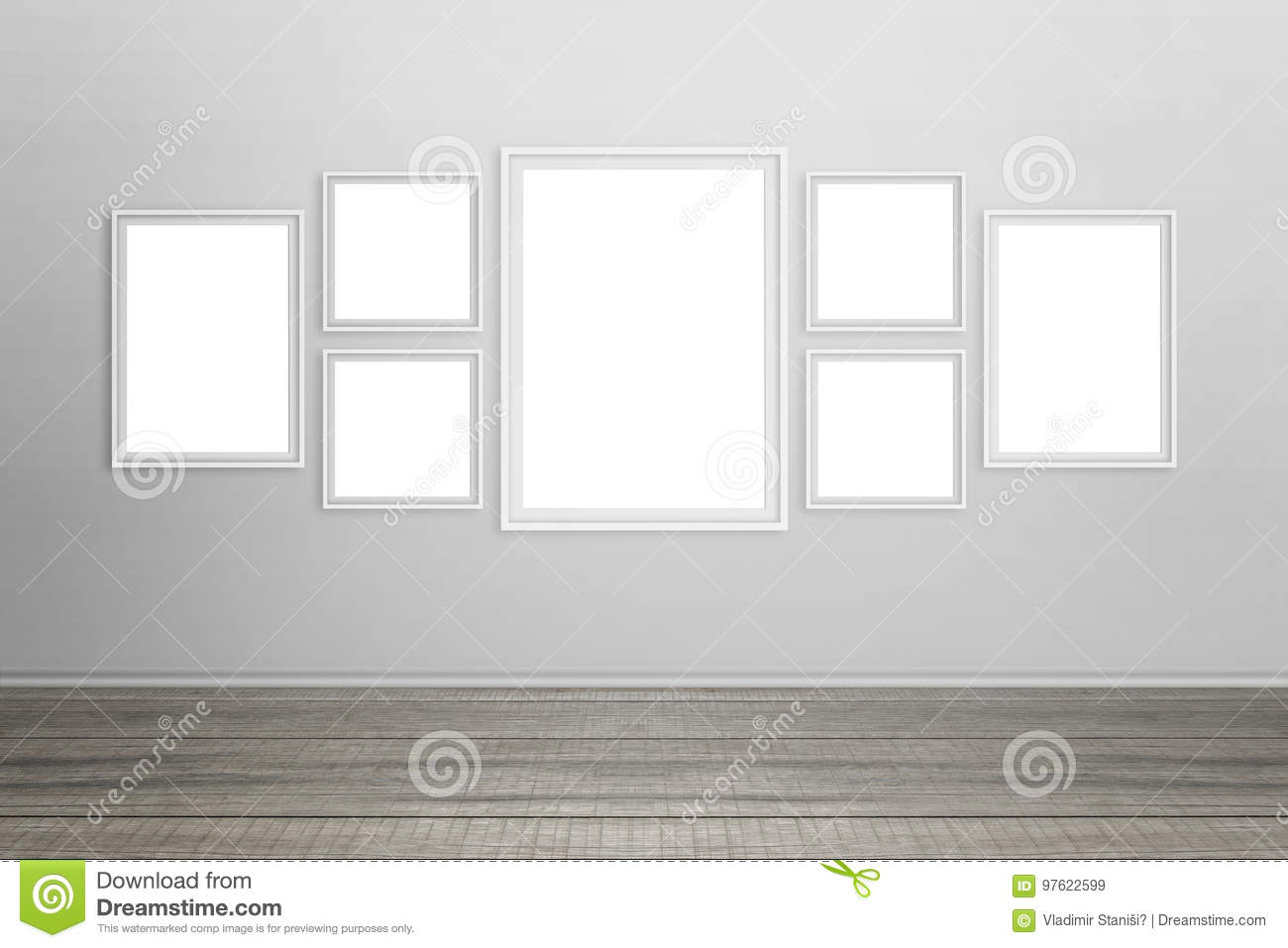 Empty white frames on wall stock image. Image of clean - 97622599