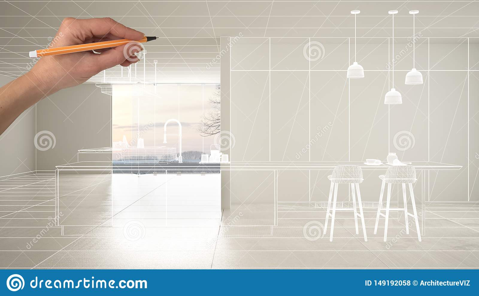 Empty white interior with white ceramic marble tiles floor, hand drawing custom architecture design, white ink sketch, blueprint