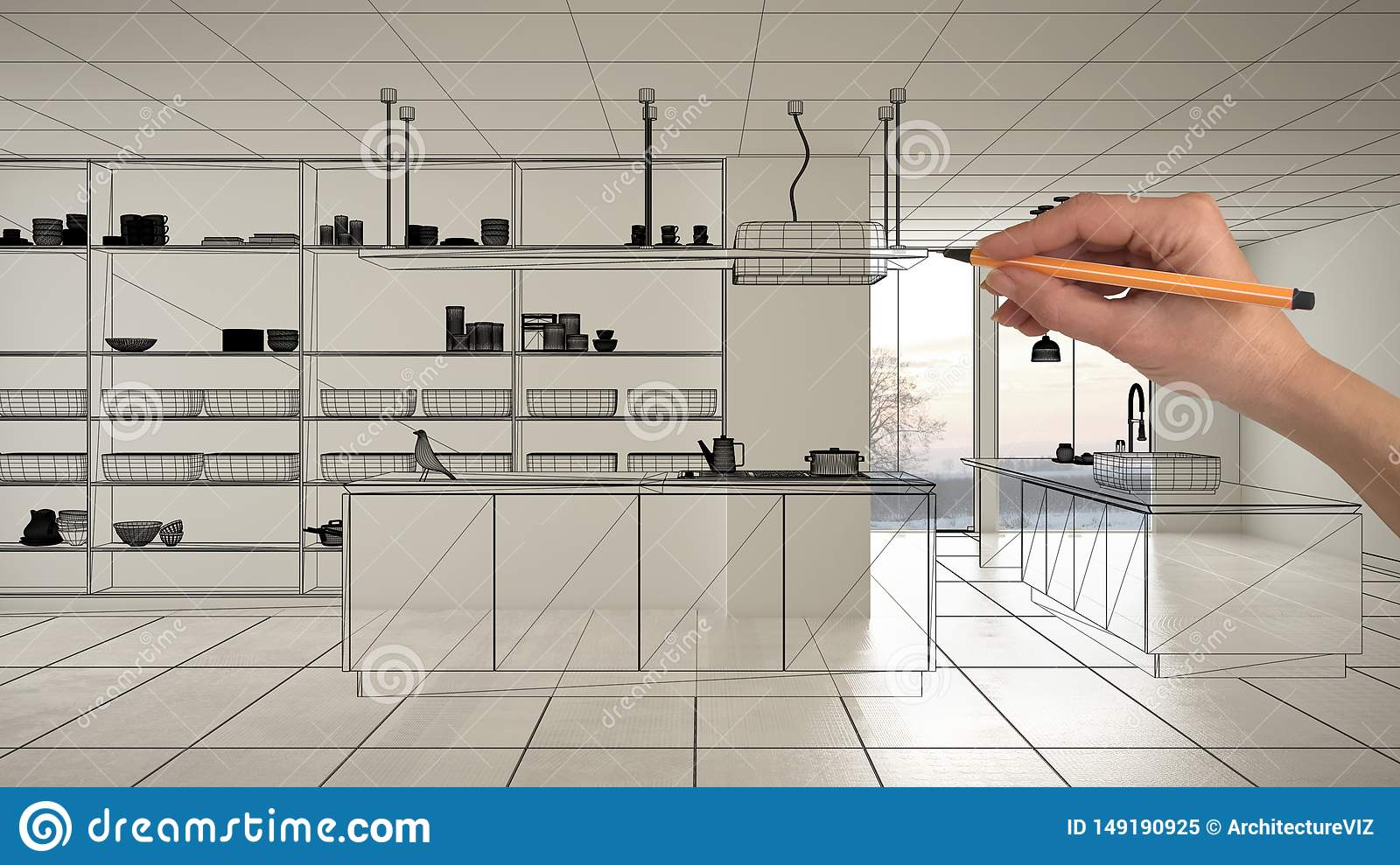 Empty white interior with white marble ceramic tiles, hand drawing custom architecture design, black ink sketch, blueprint showing