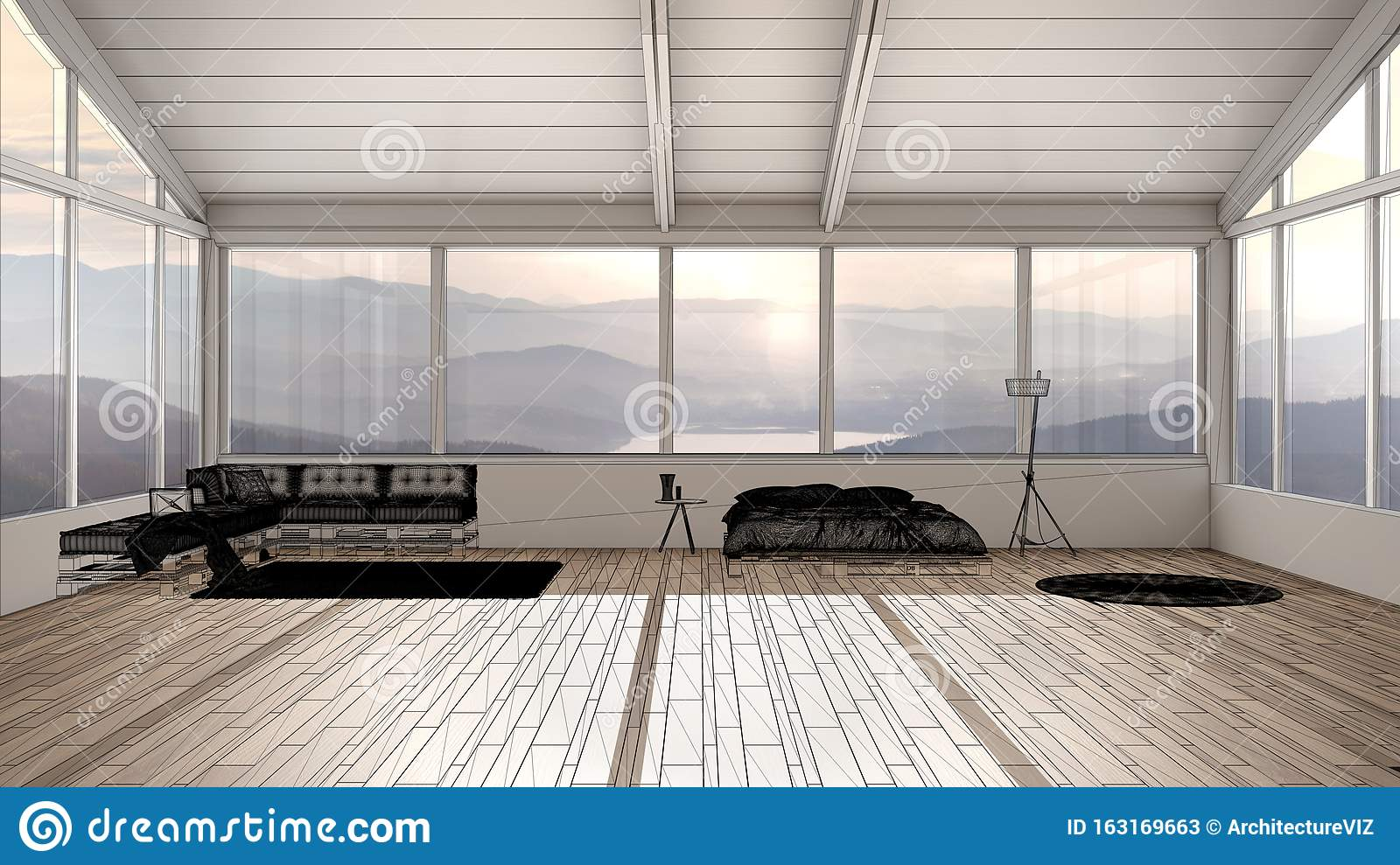 Empty White Interior With Parquet Floor And Panoramic Window With Mountains Custom Architecture Design Project Black Ink Sketch Stock Illustration Illustration Of Lines Unfinished 163169663