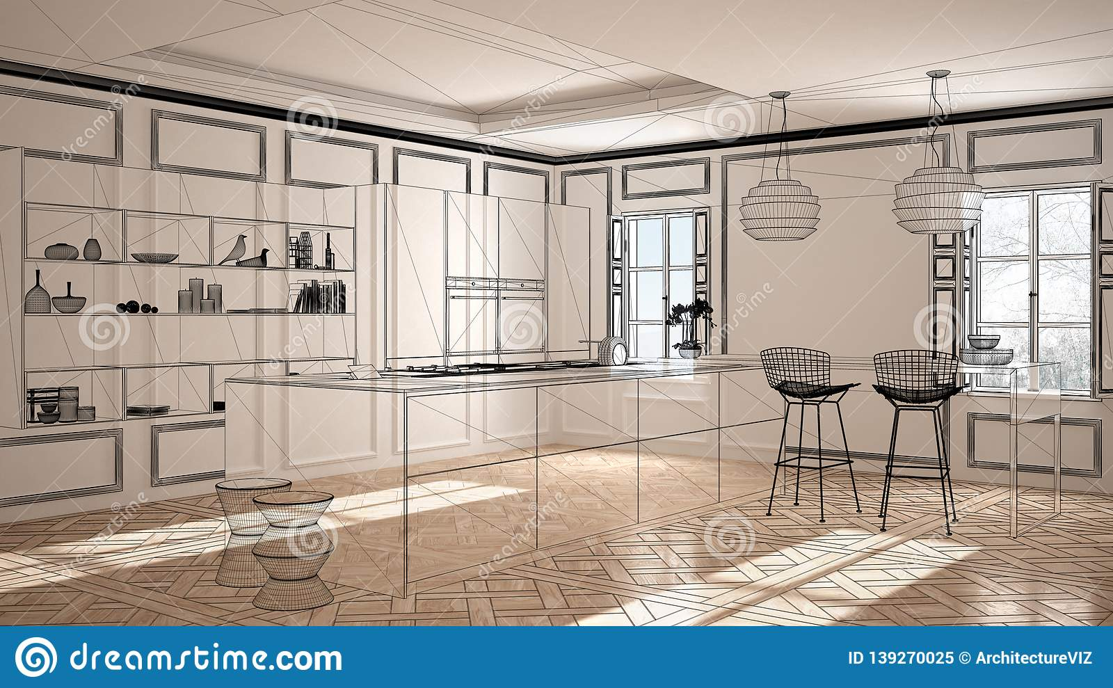 Empty White Interior With Parquet Floor And Stucco Walls, Custom  Architecture Design Project, Black