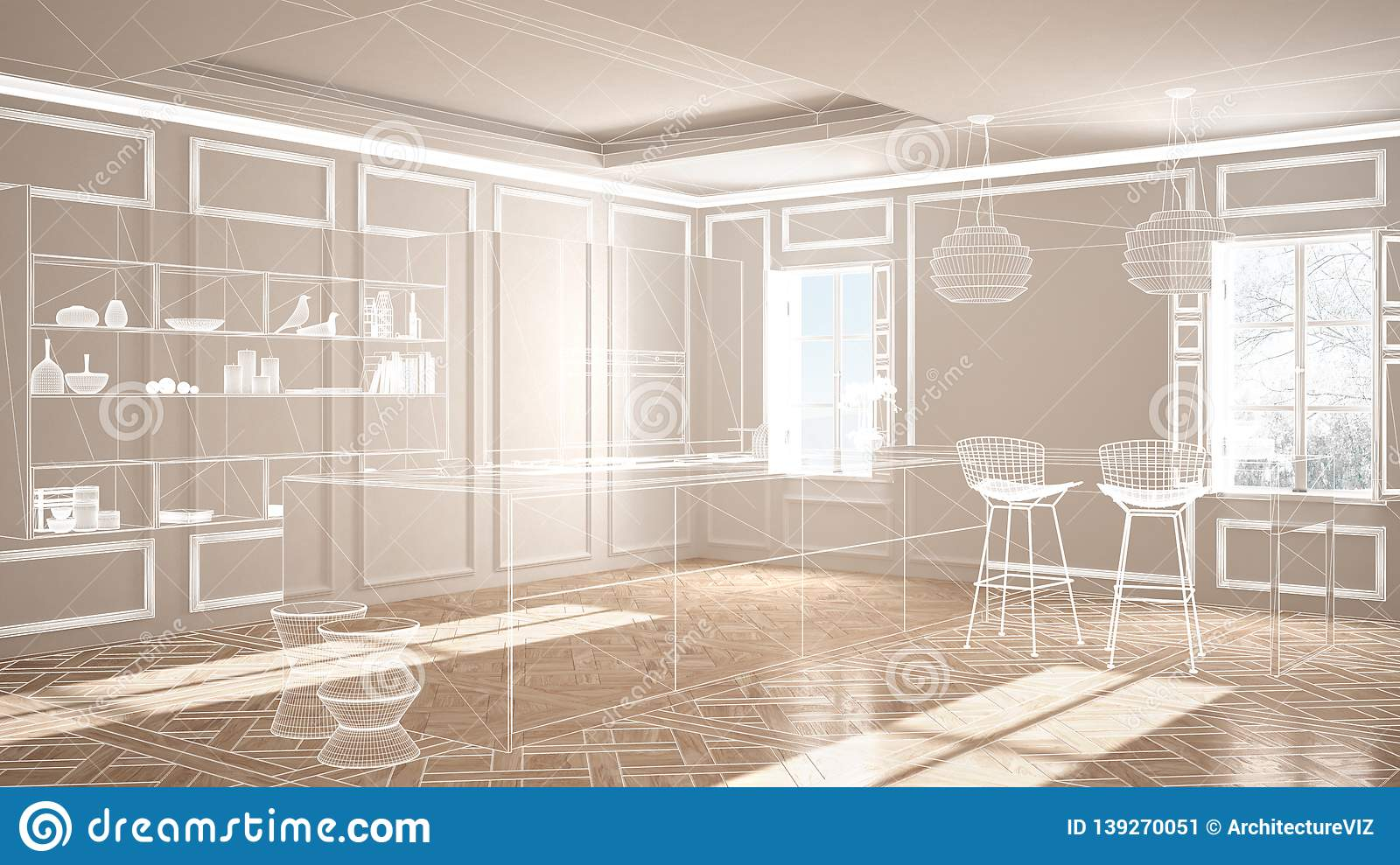 Empty White Interior With Parquet Floor And Stucco Walls, Custom  Architecture Design Project, White