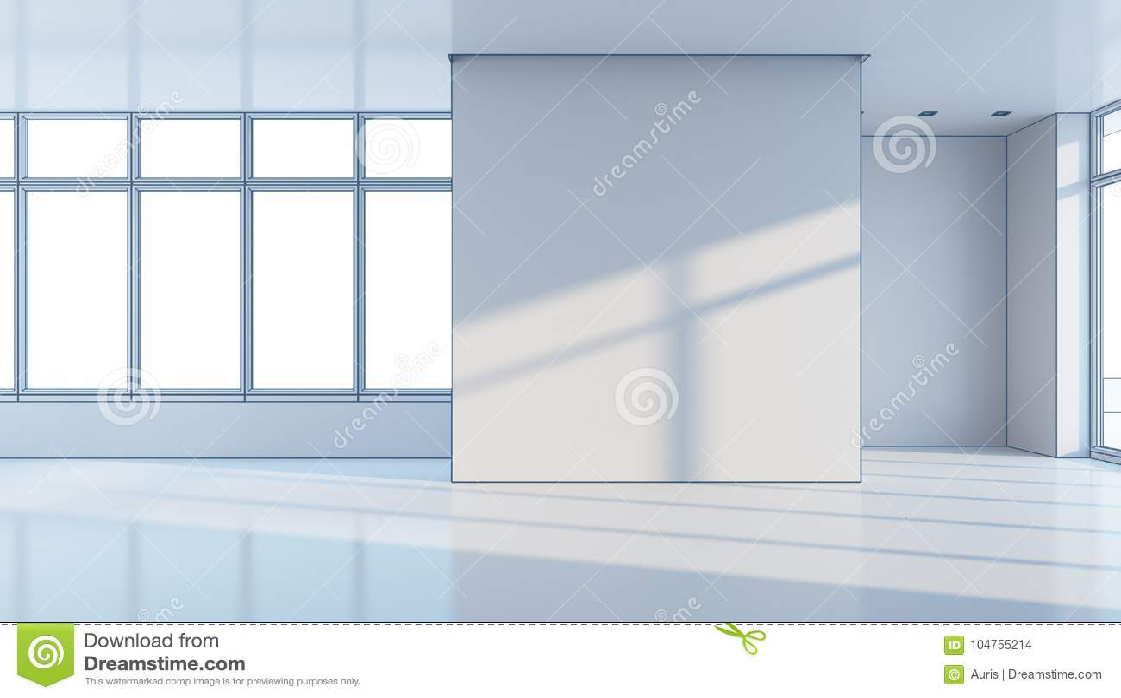 Empty office space, 3d rendering