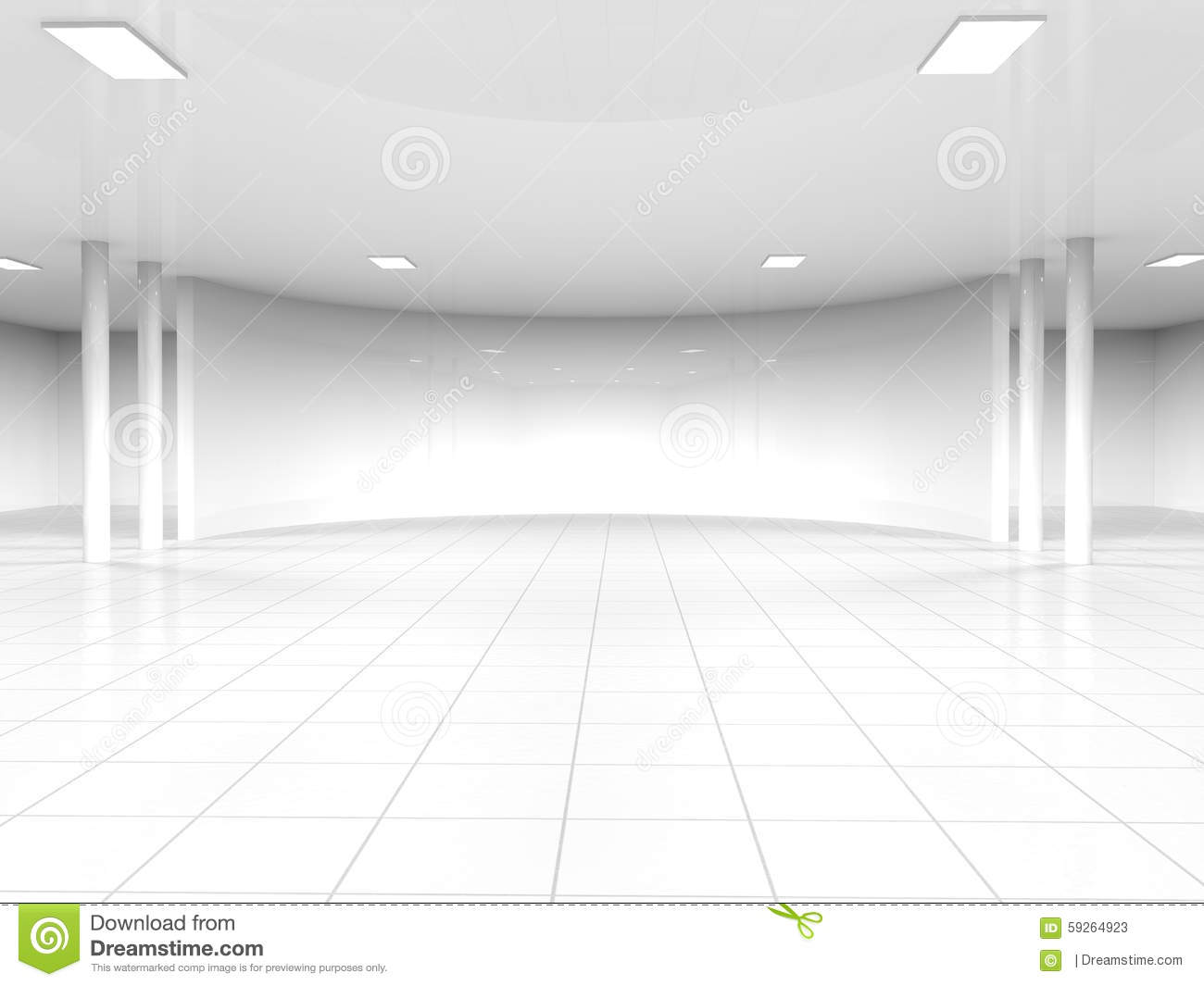 Empty White Open Space 3d Rendering Stock Illustration