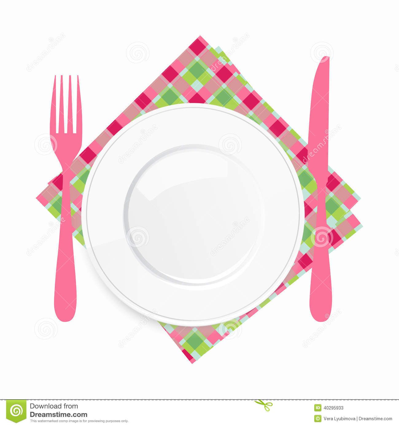 ... place setting and catering or serving food, illustration on a white